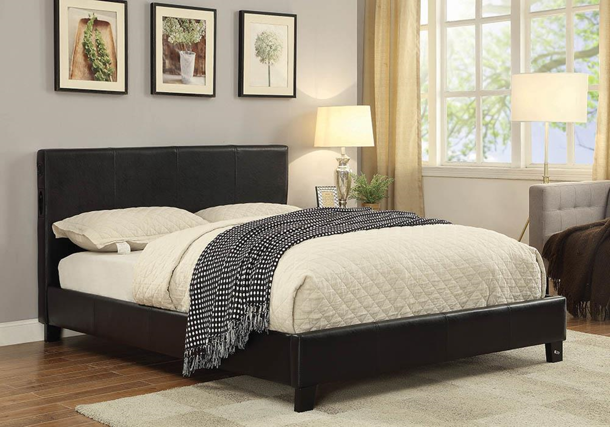 Black Queen Bed With Bluetooth Speakers