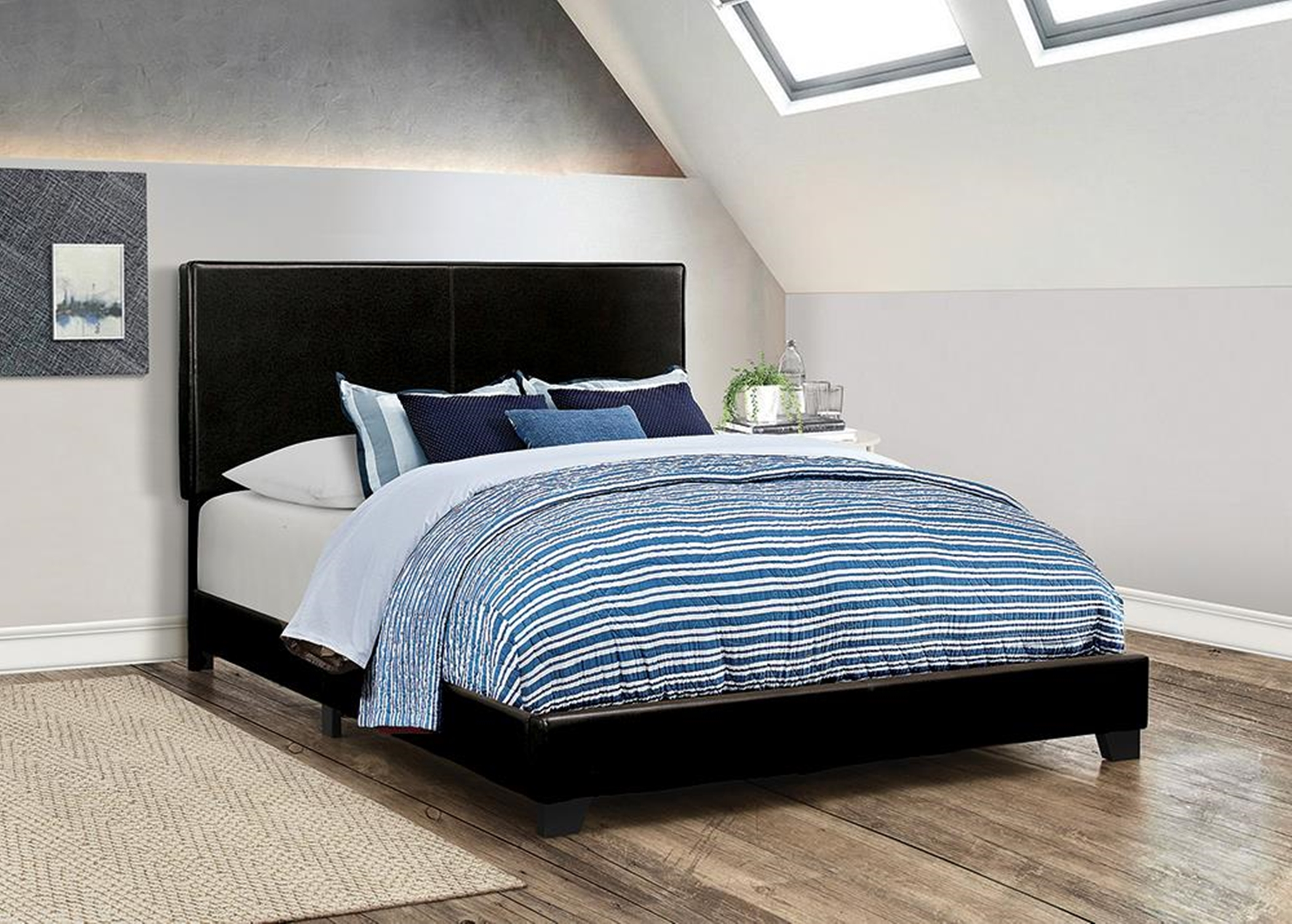 Dorian Black Faux Leather Full Bed