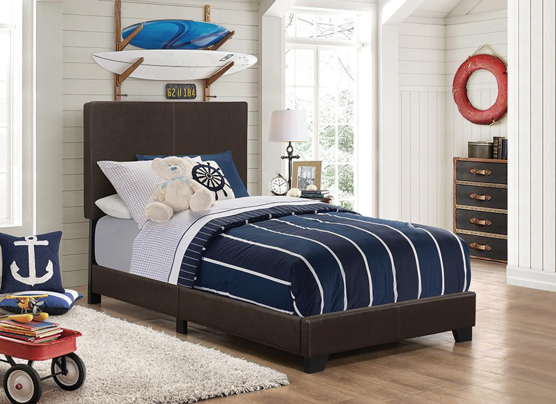 Dorian Brown Faux Leather Twin Bed