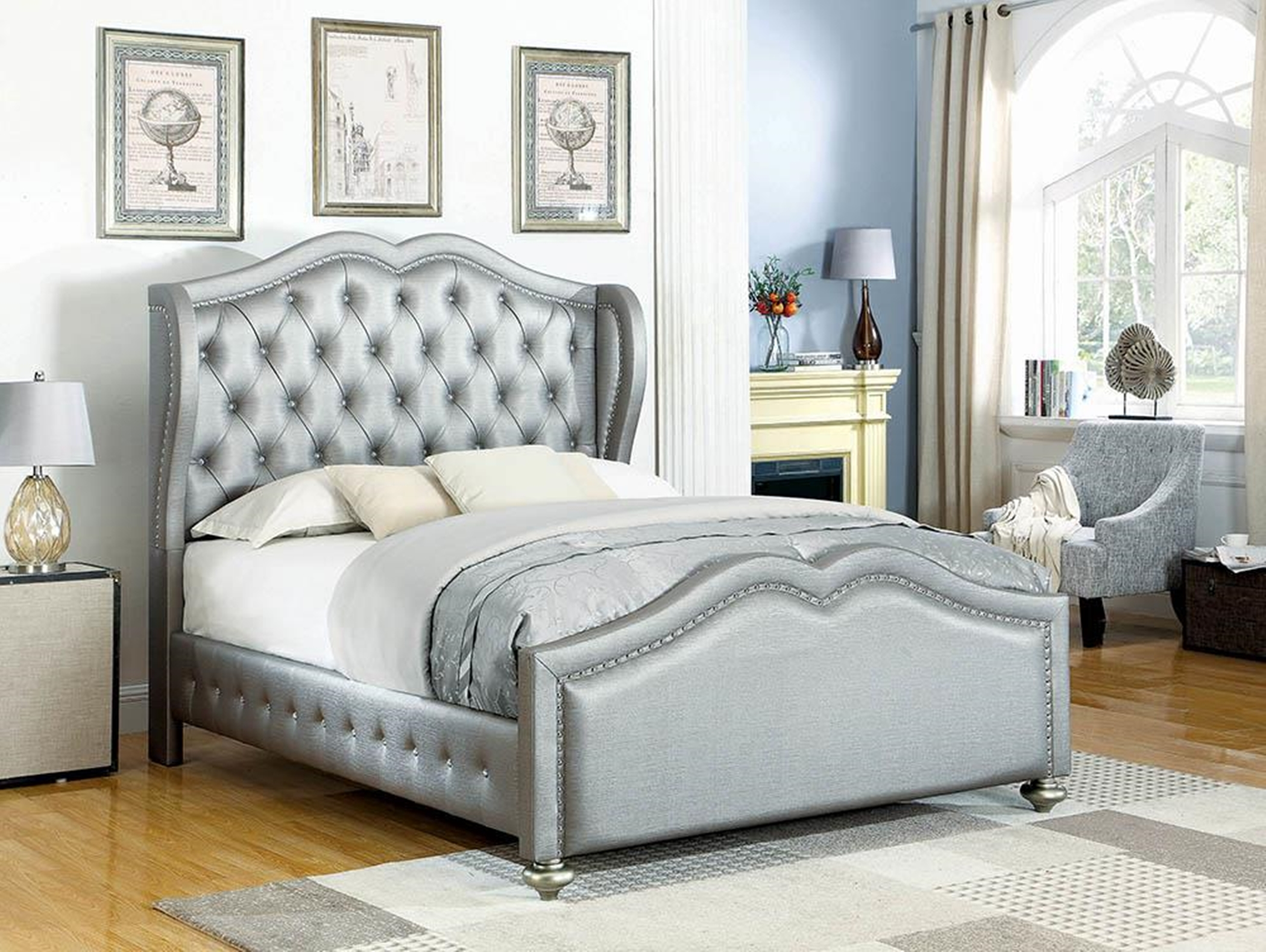 Belmont Grey Upholstered King Bed