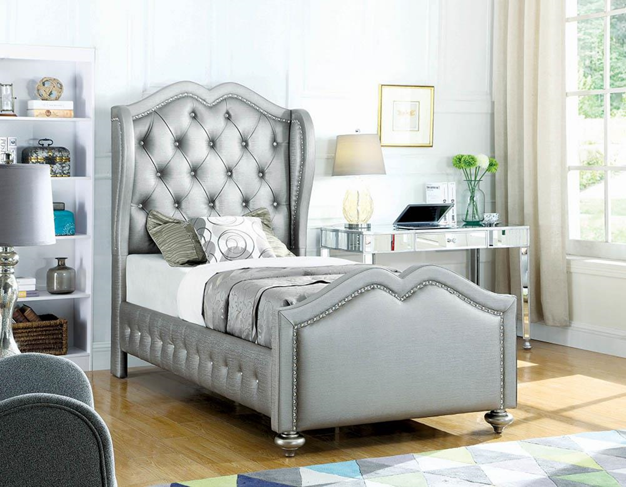 Belmont Grey Upholstered Twin Bed