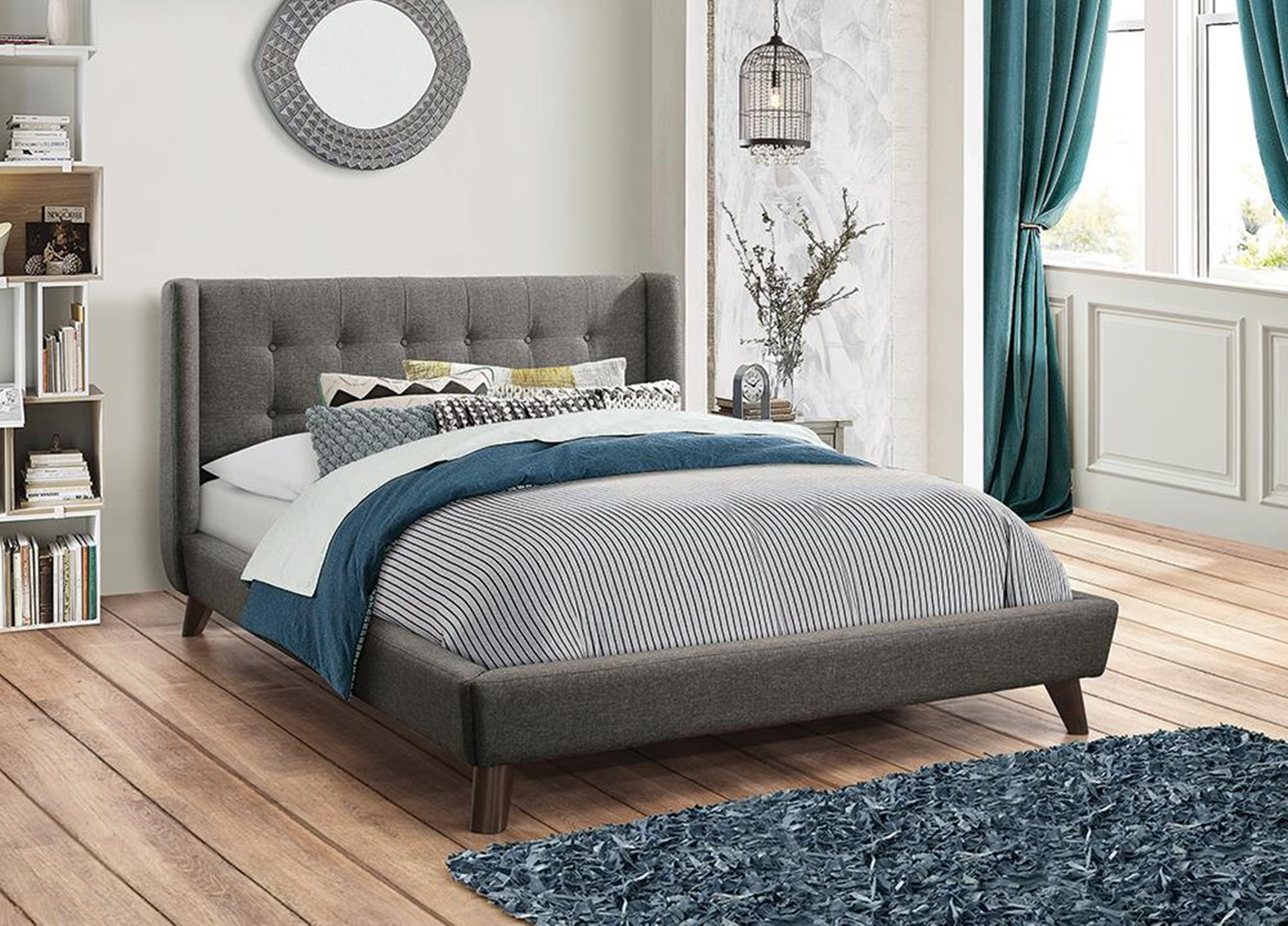Carrington Grey Upholstered Cal. King Bed