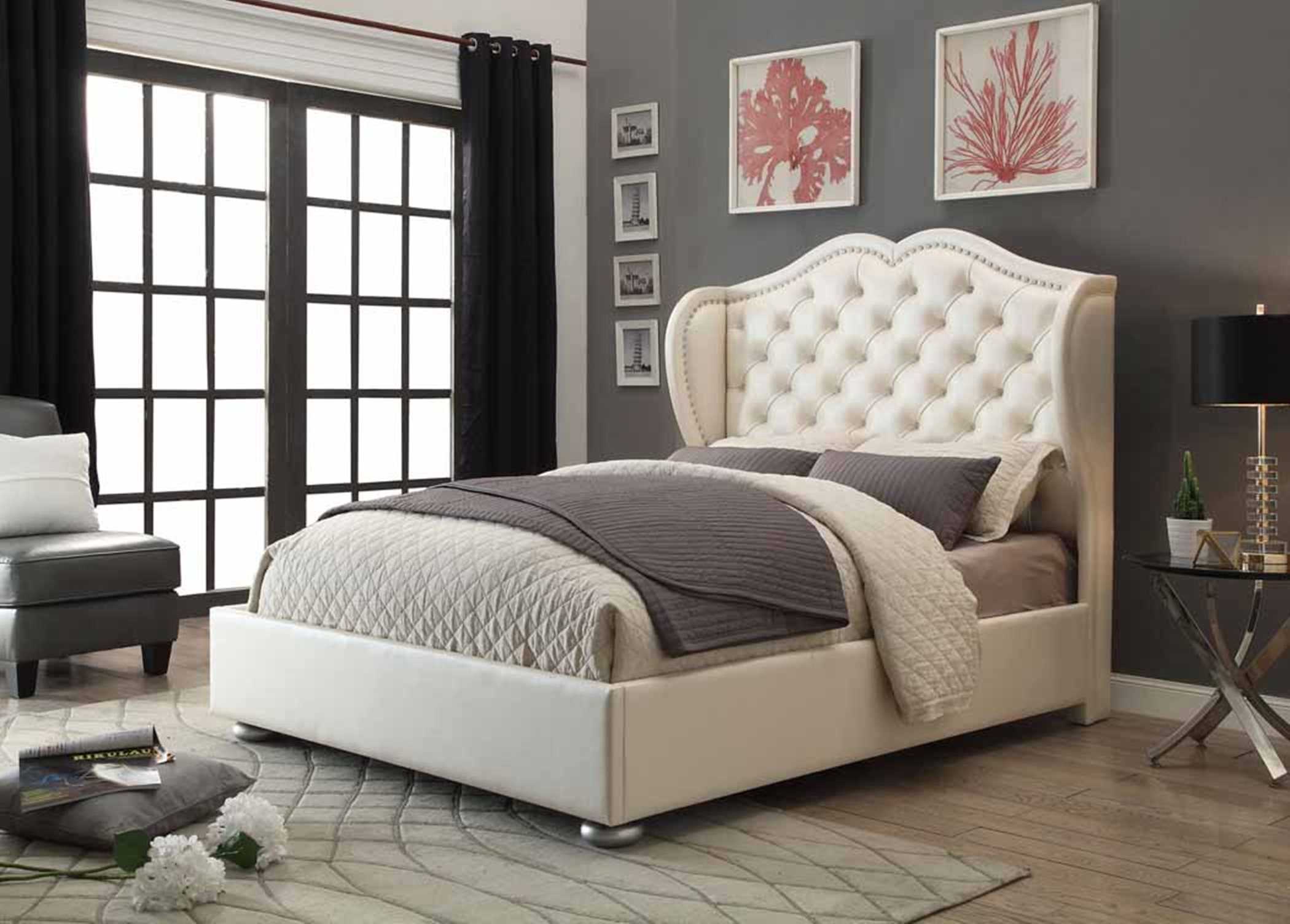 Clarice White Upholstered Queen Bed