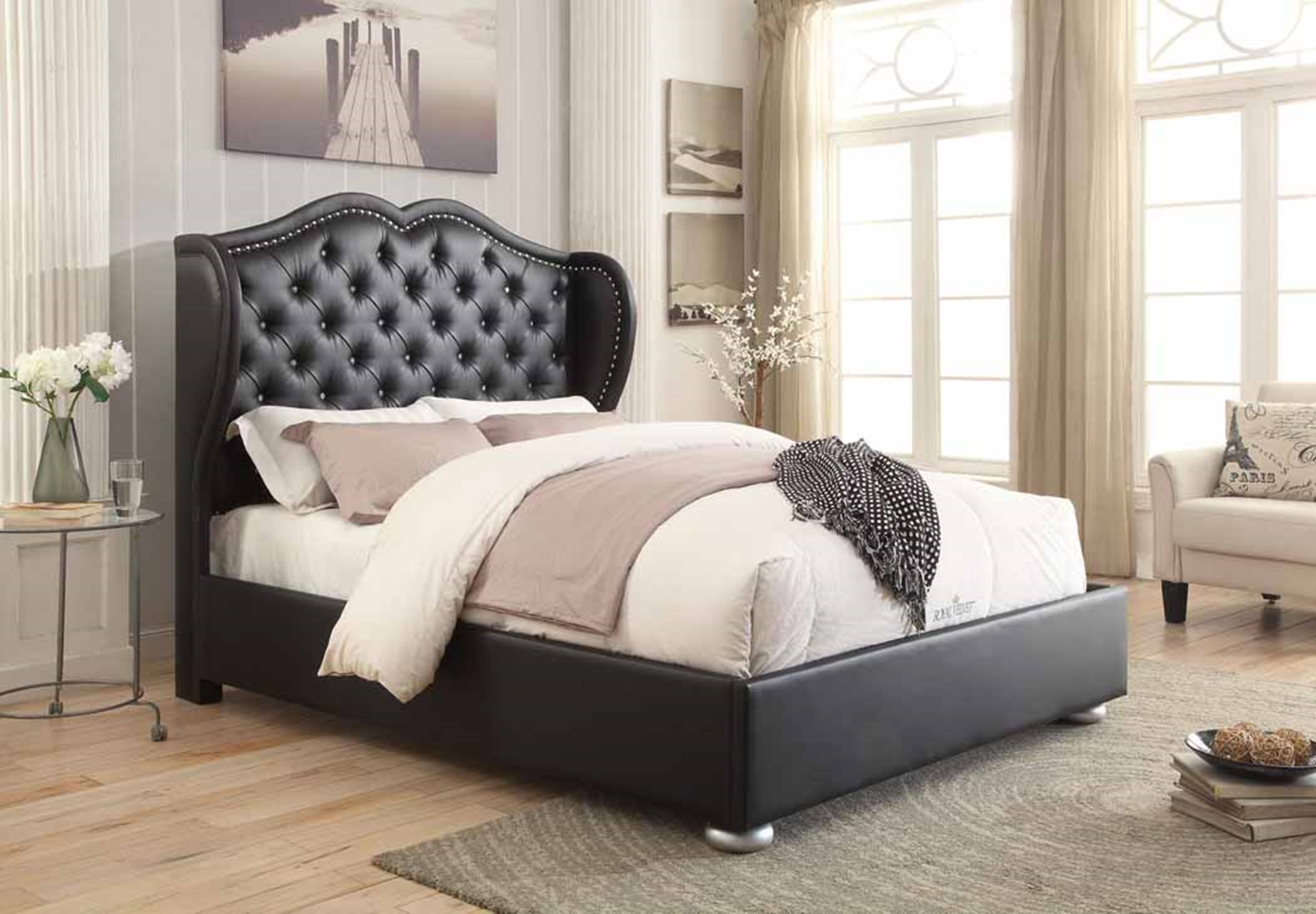 Clarice Black Upholstered Queen Bed