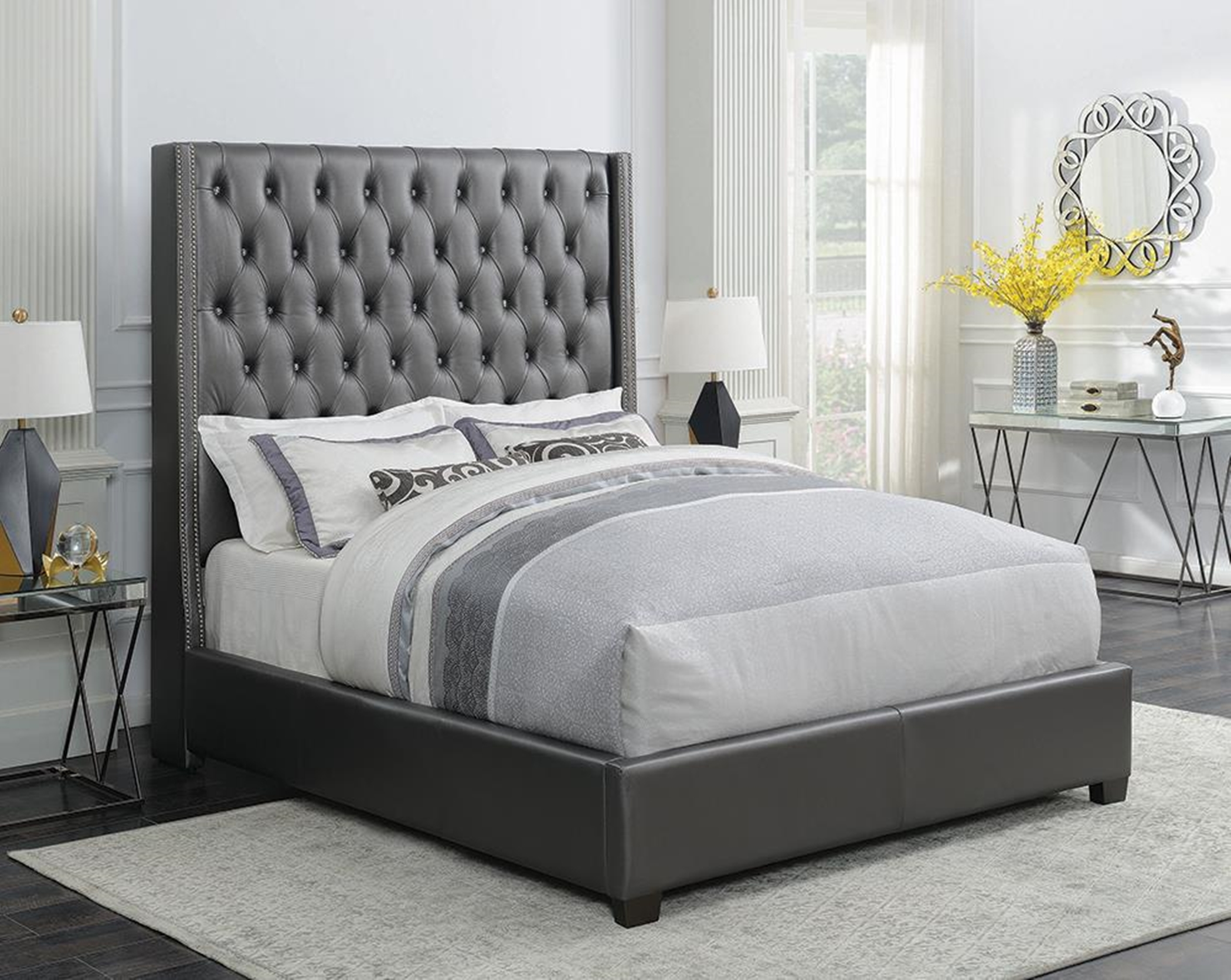 Clifton Metallic Grey Queen Bed