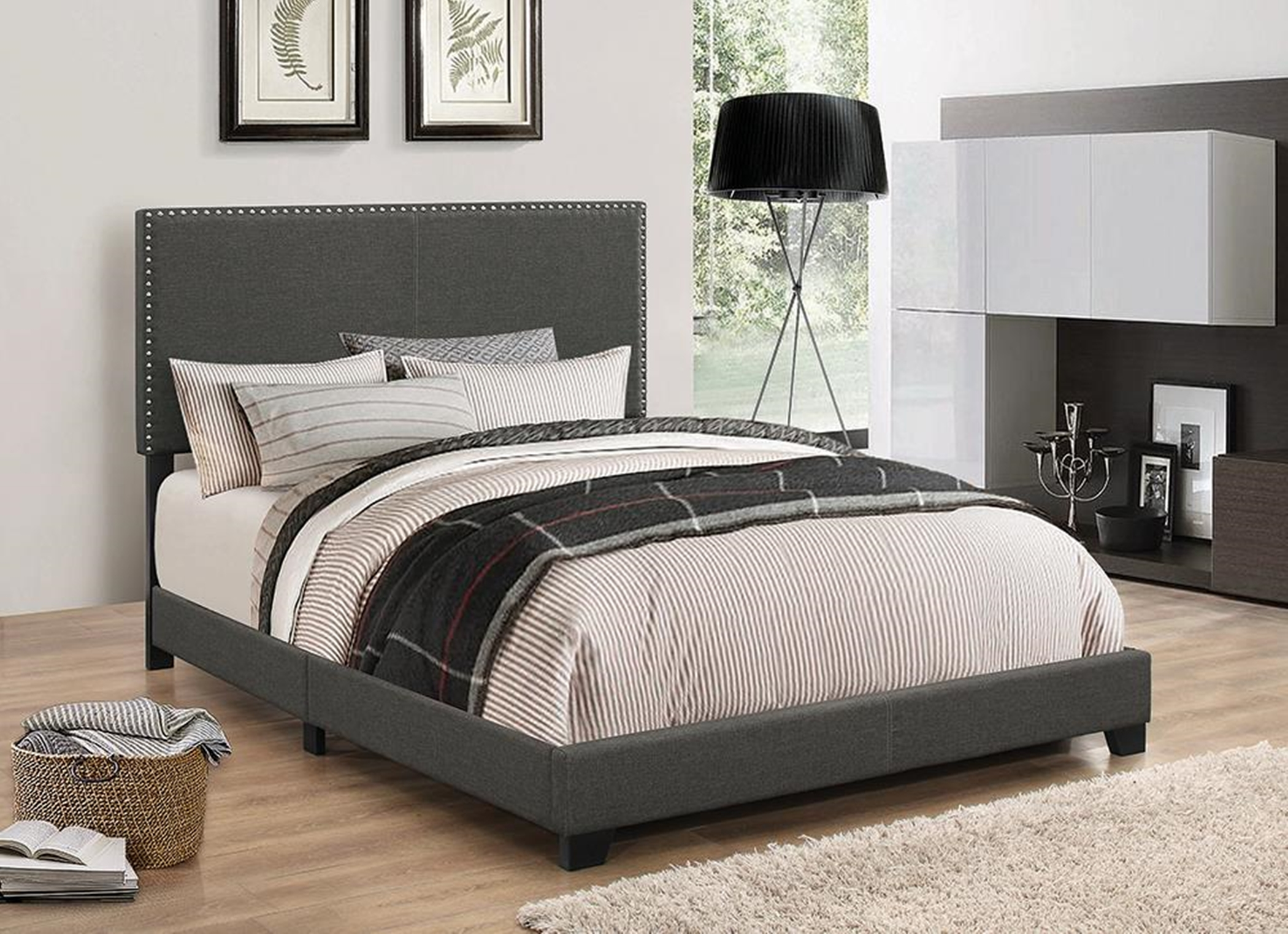 Boyd Upholstered Charcoal Cal. King Bed