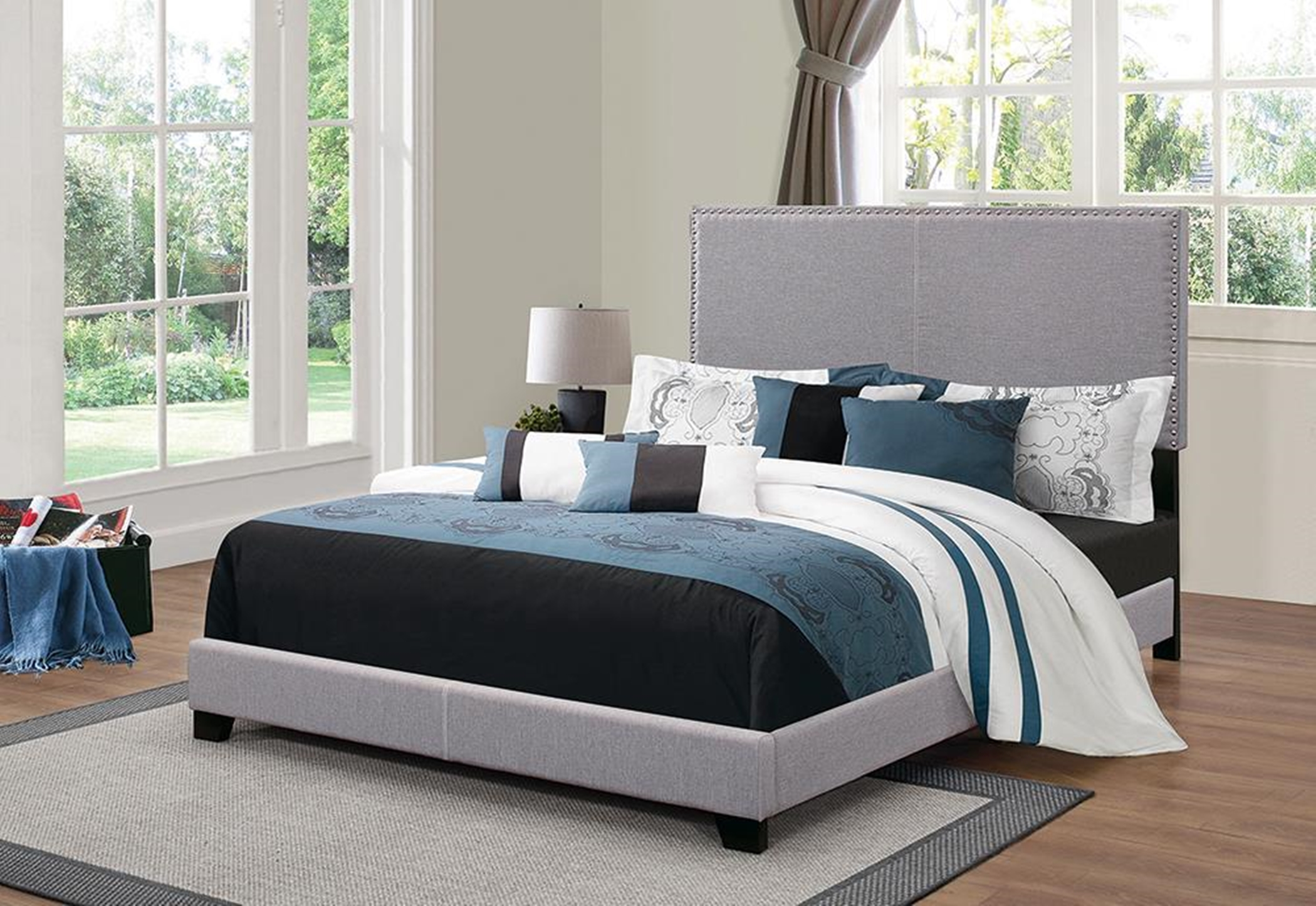 Boyd Upholstered Grey Cal. King Bed