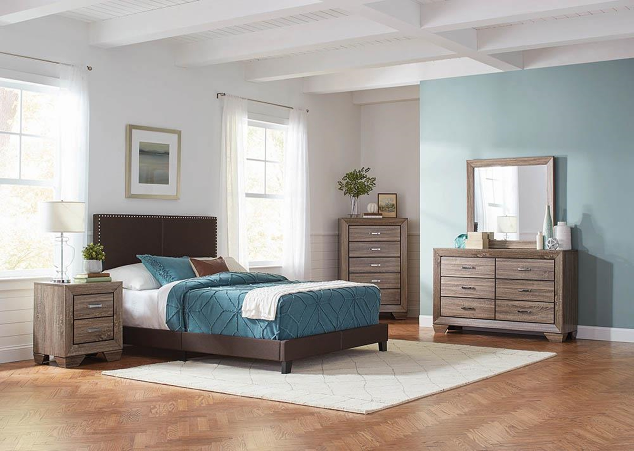 Boyd Upholstered Brown Cal. King Bed