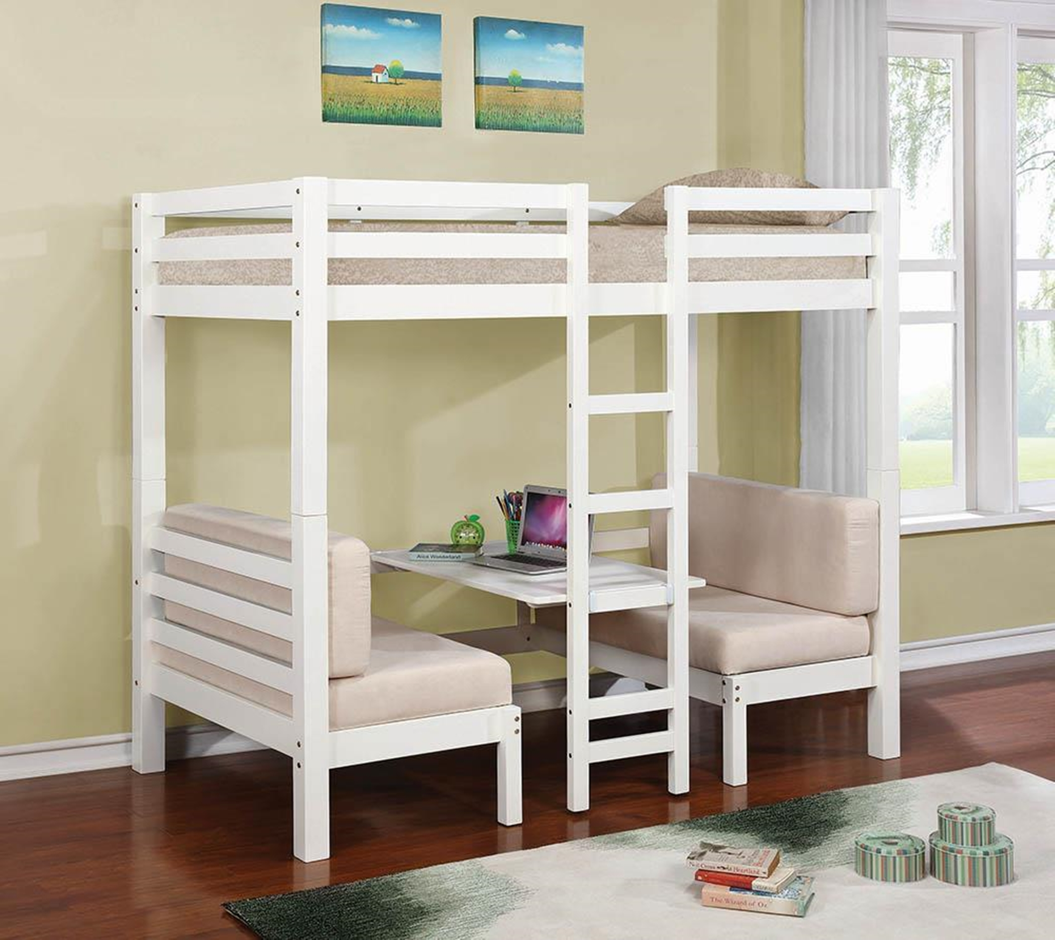 Joaquin Transitional White Twin-over-Twin Bunk Bed