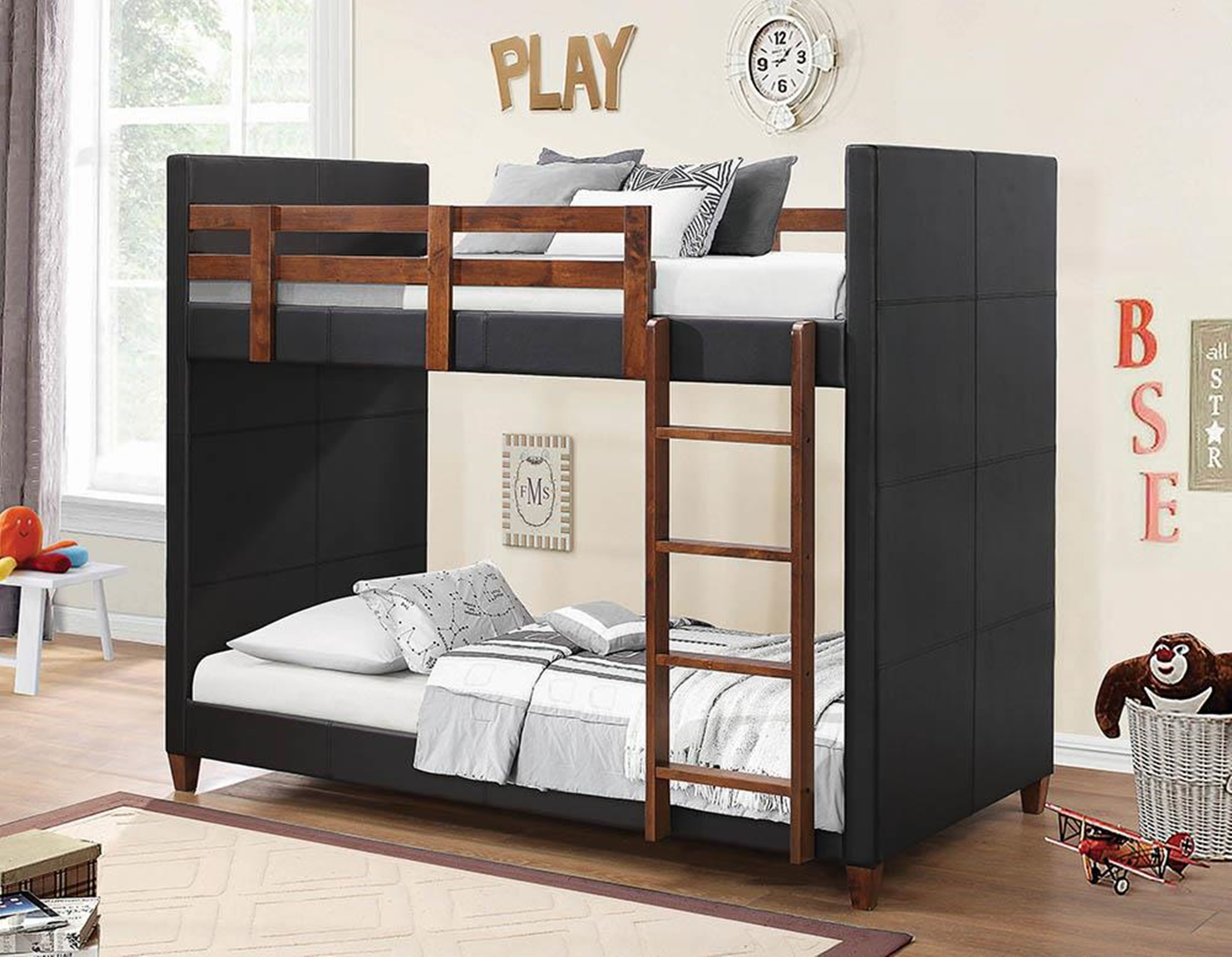 Diego Transitional Black Twin-over-Twin Bunk Bed