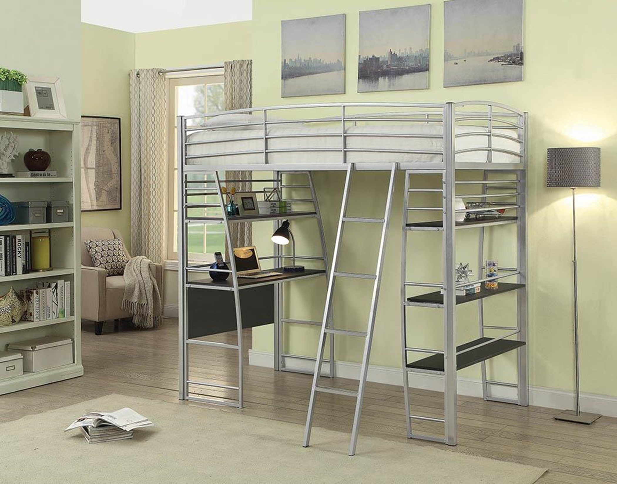 Escalon Casual Silver Twin Workstation Bed