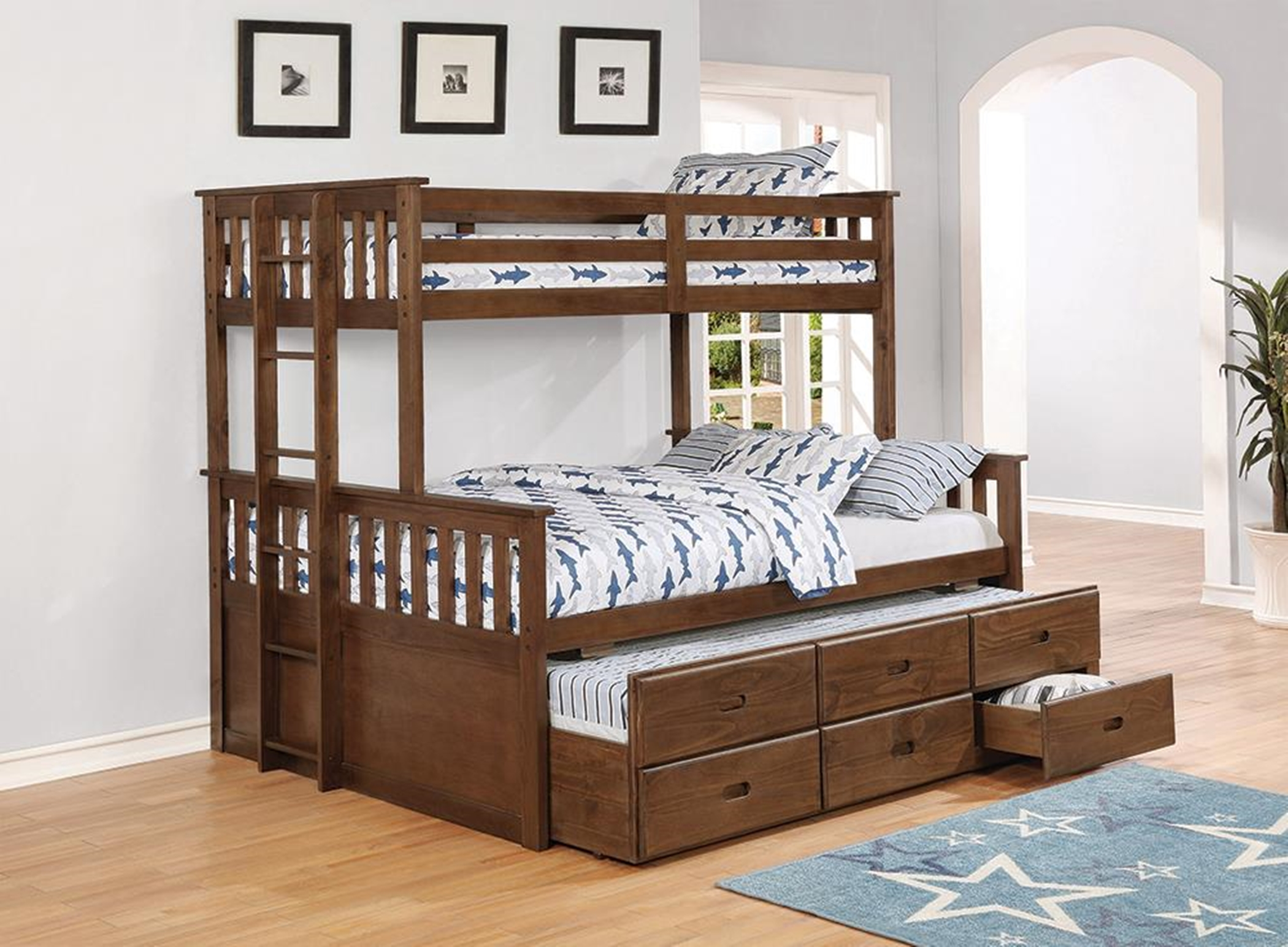 Atkin Weathered Walnut Twin-over-Full Bunk Bed