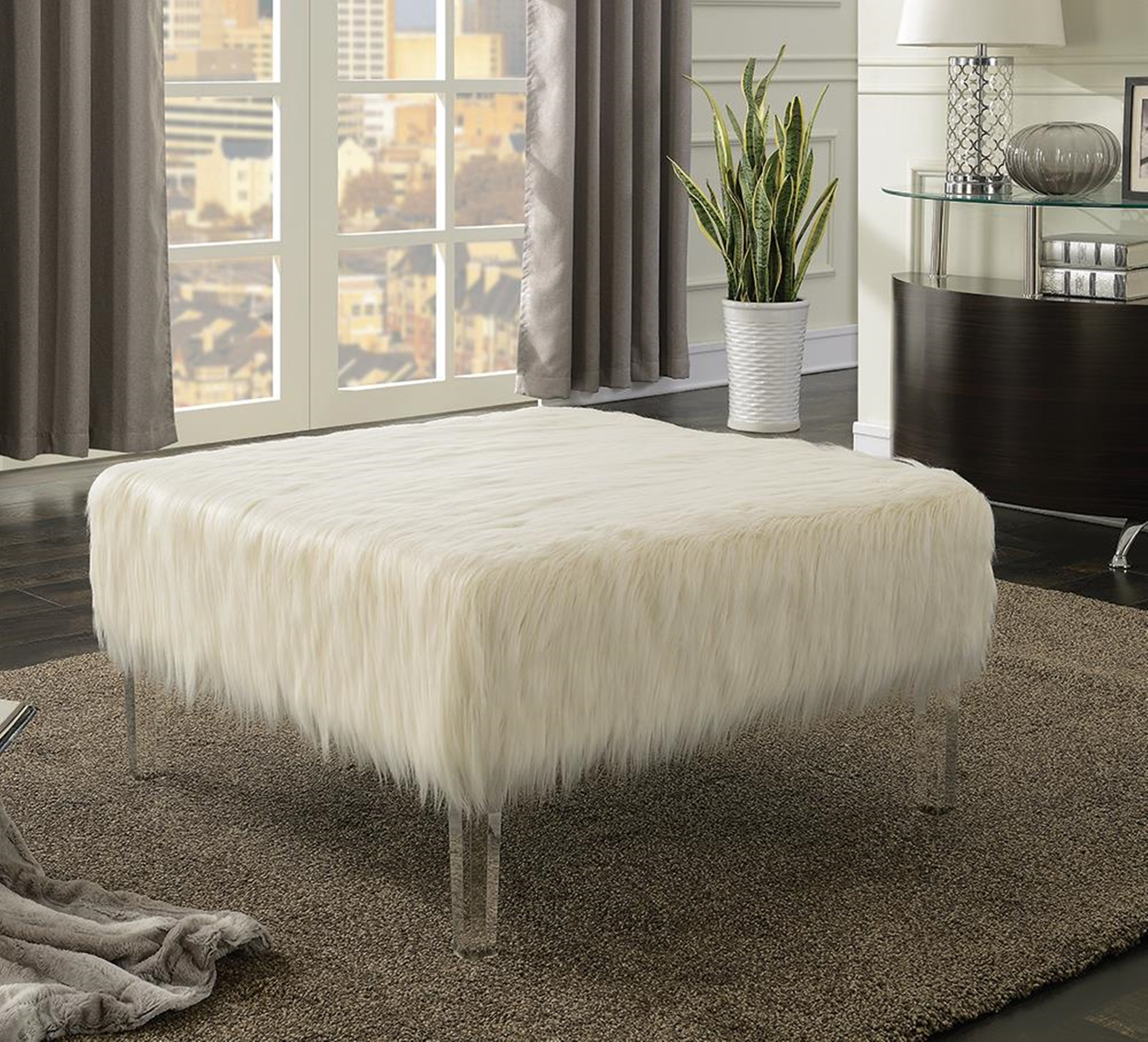 Contemporary White Ottoman