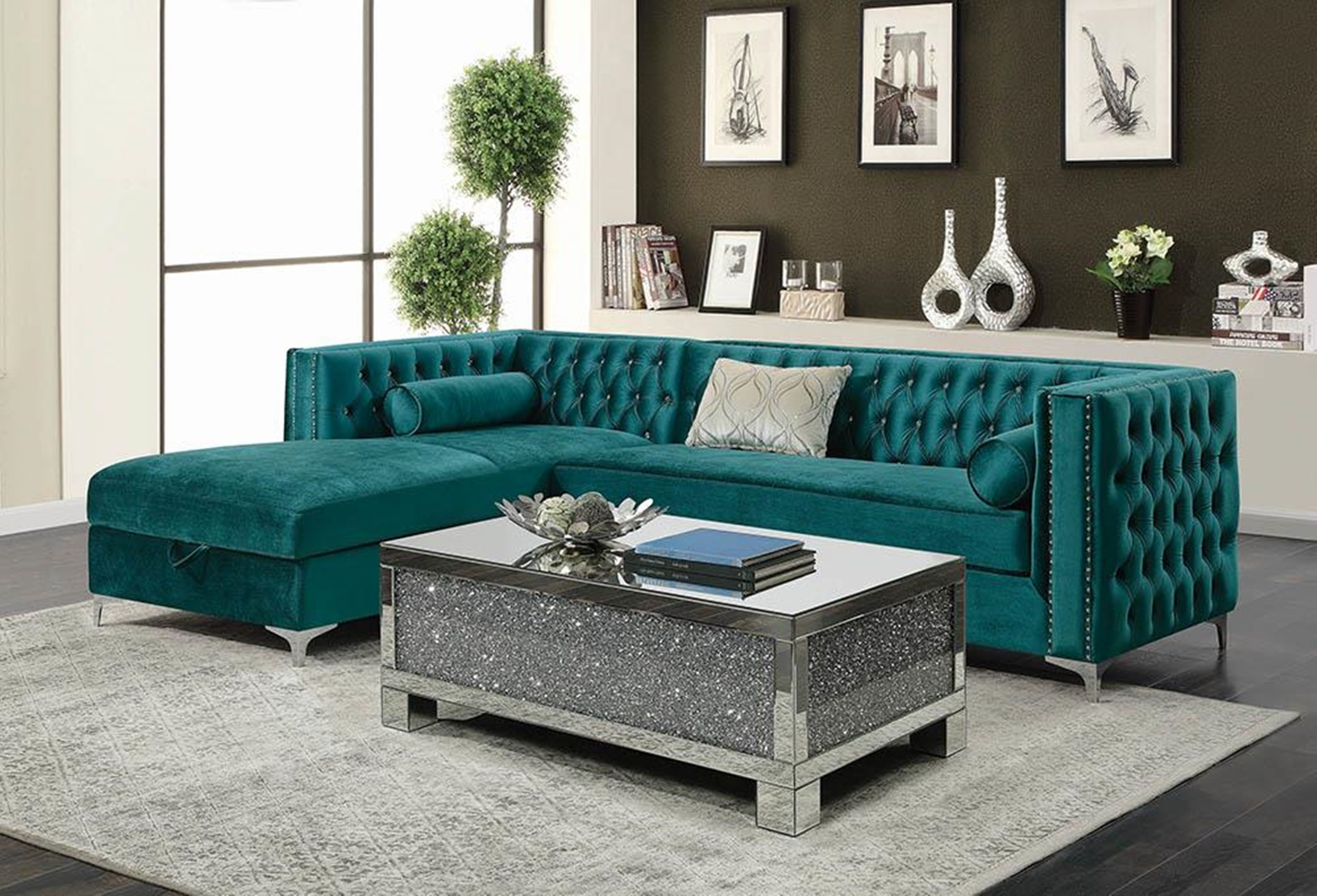 Bellaire Teal and Chrome Sectional