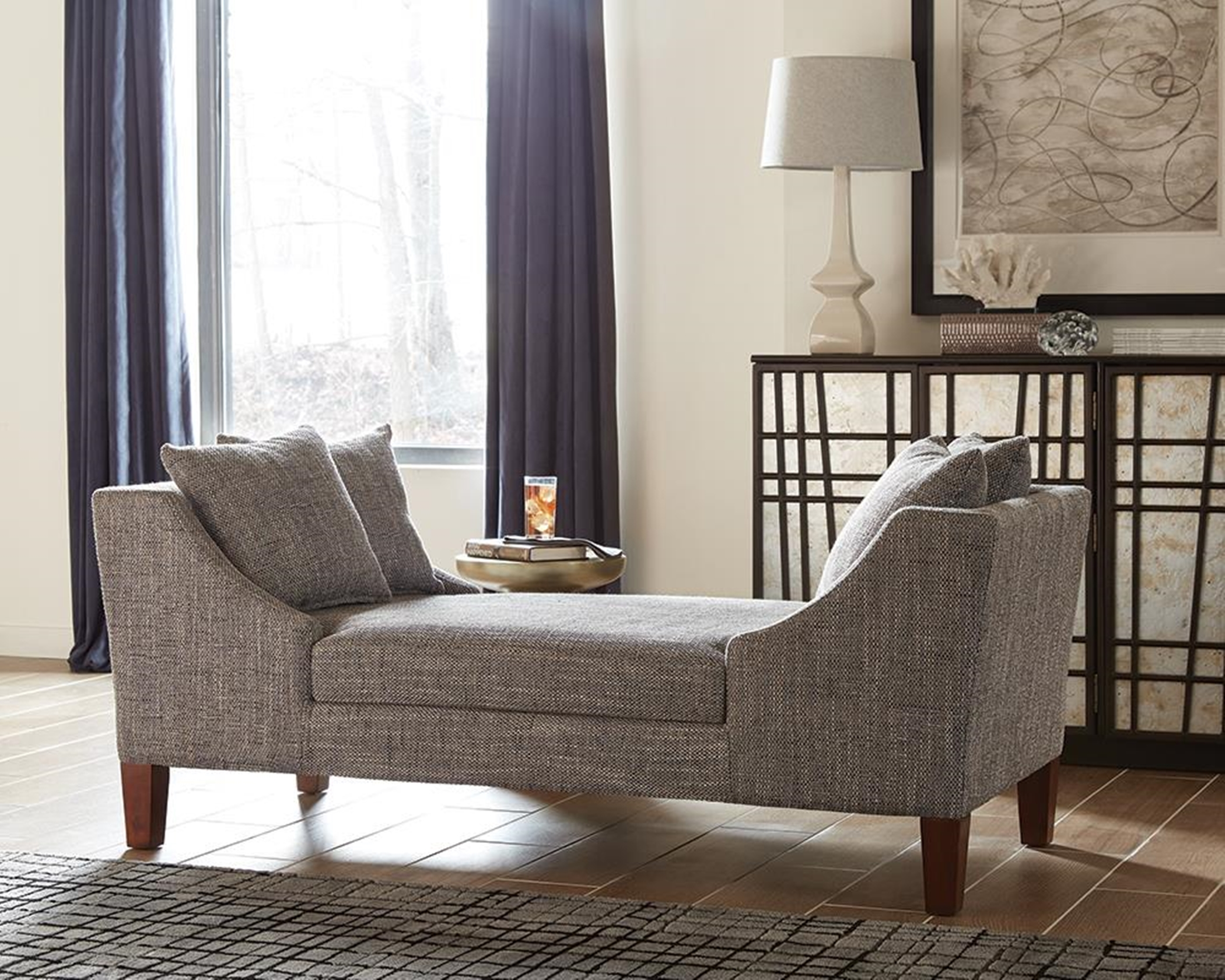 Mid-Century Grey Double-Sided Chaise