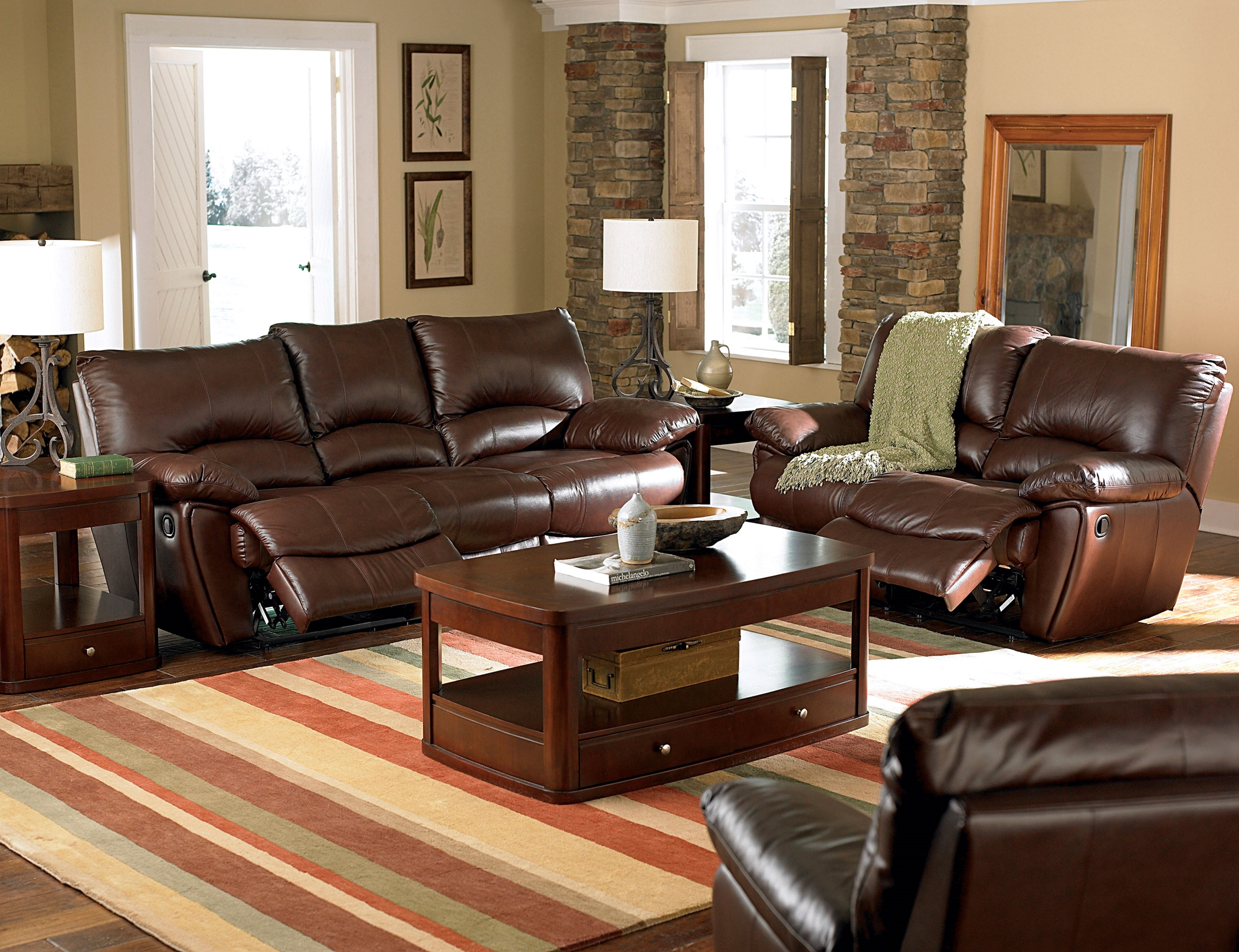 Clifford Motion Dark Brown Reclining Sofa & Love