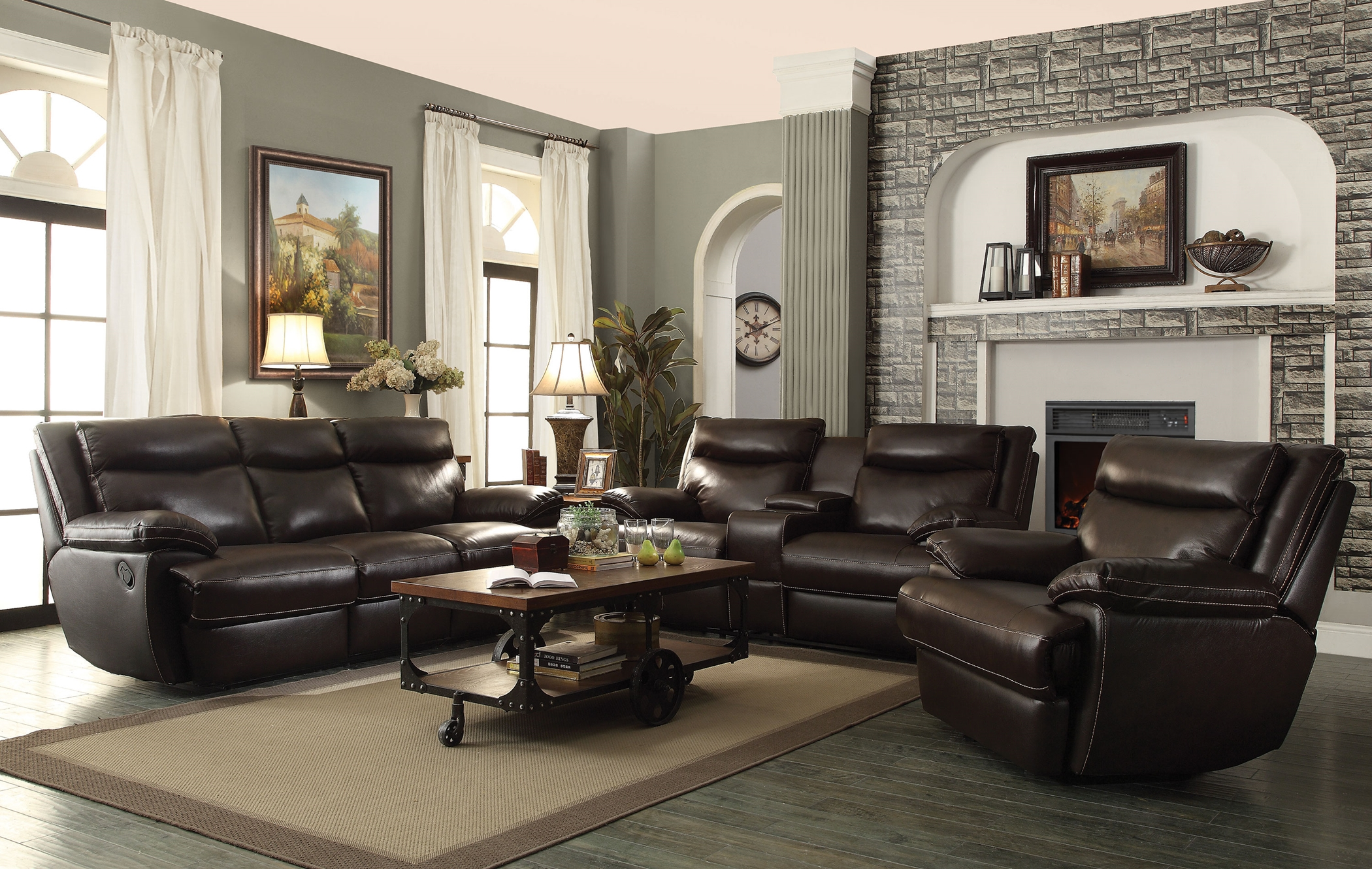 Rodman Chocolate Reclining Sofa & Love