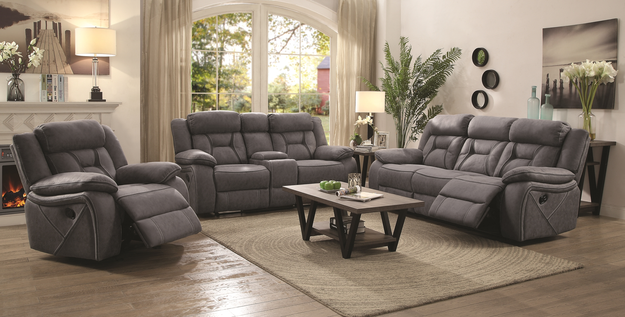 Houston Casual Stone Reclining Sofa & Love