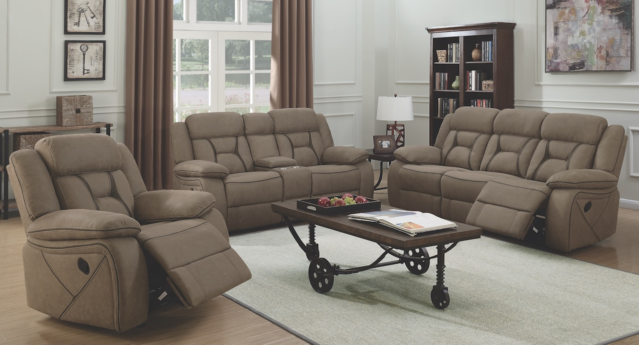 Houston Casual Tan Reclining Three-Piece