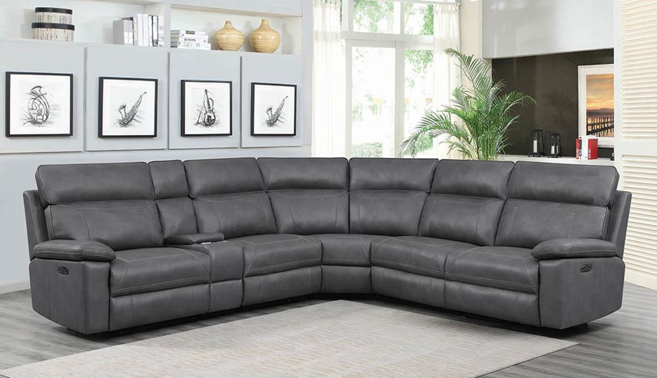 Albany Grey 6pcs Power2 Sectional