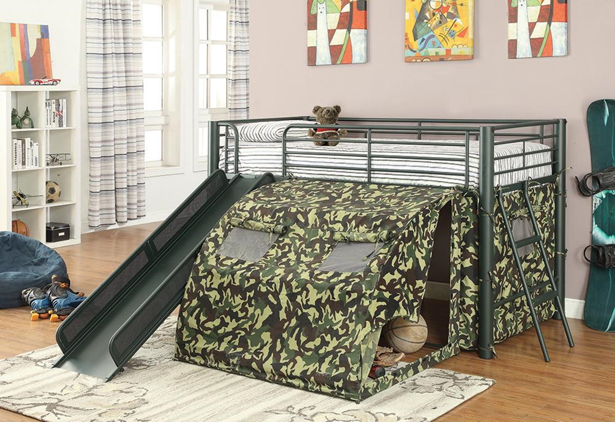 Camouflage Themed Glossy Loft Bed