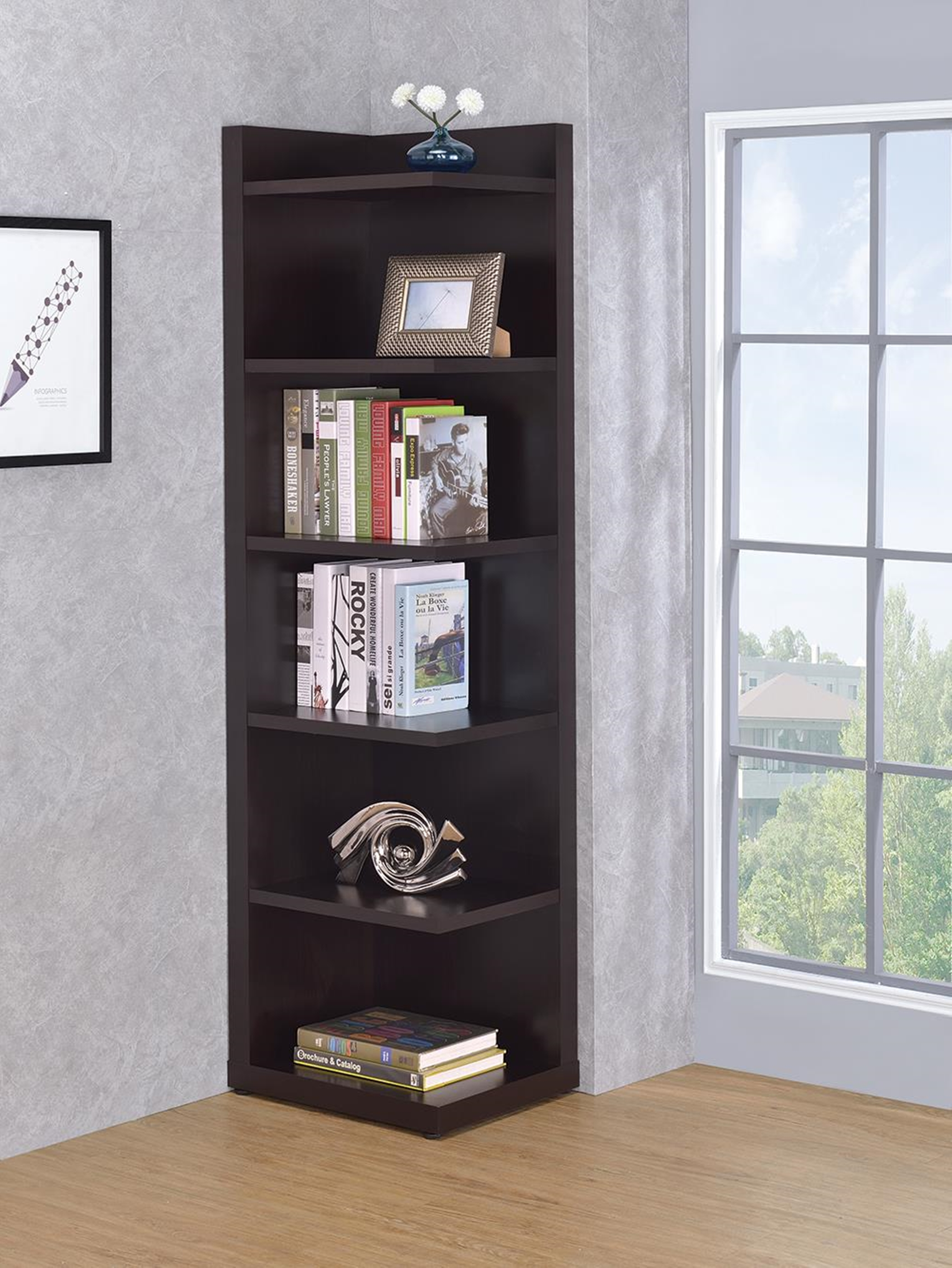 Transitional Capp. Corner Bookcase