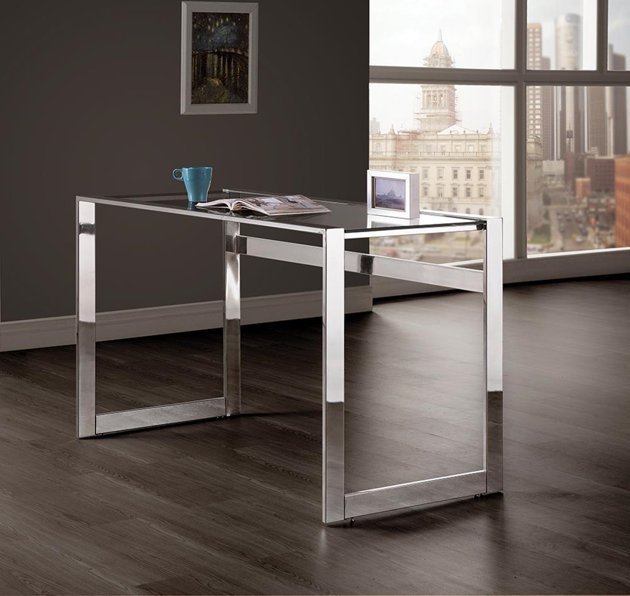 Chrome and Glass Top Writing Desk