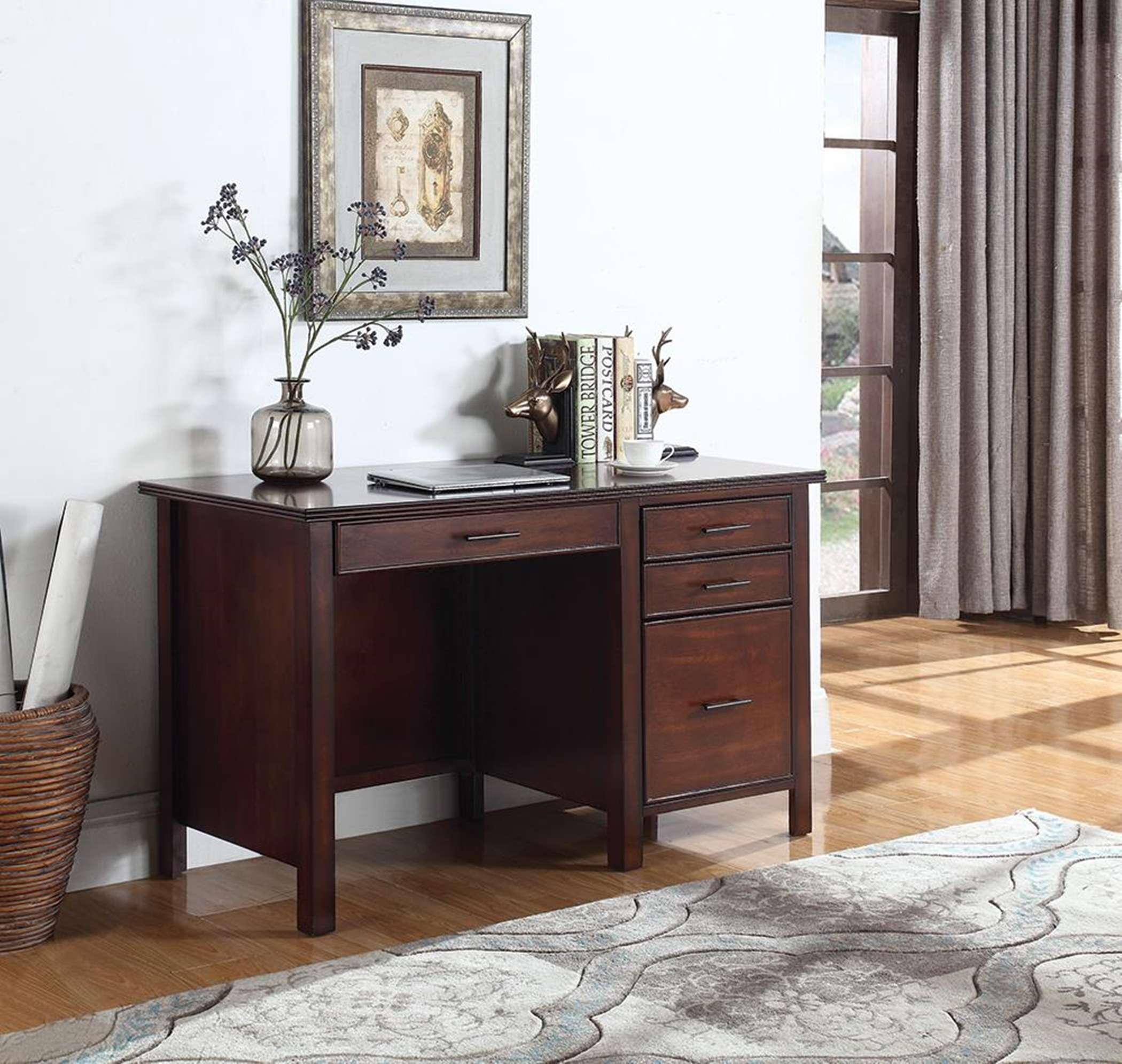 Traditional Red Brown Writing Desk