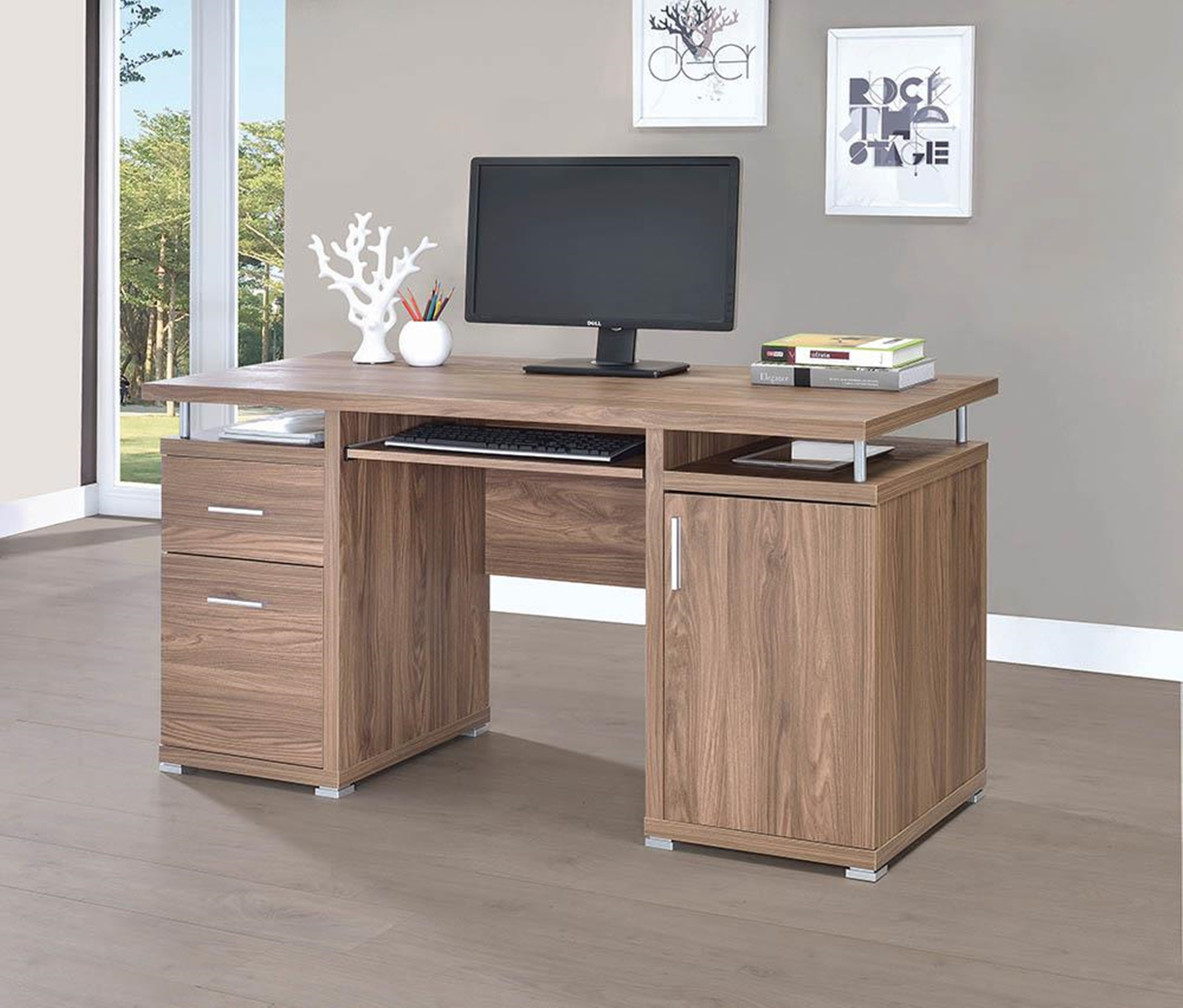 Transitional Elm Computer Desk