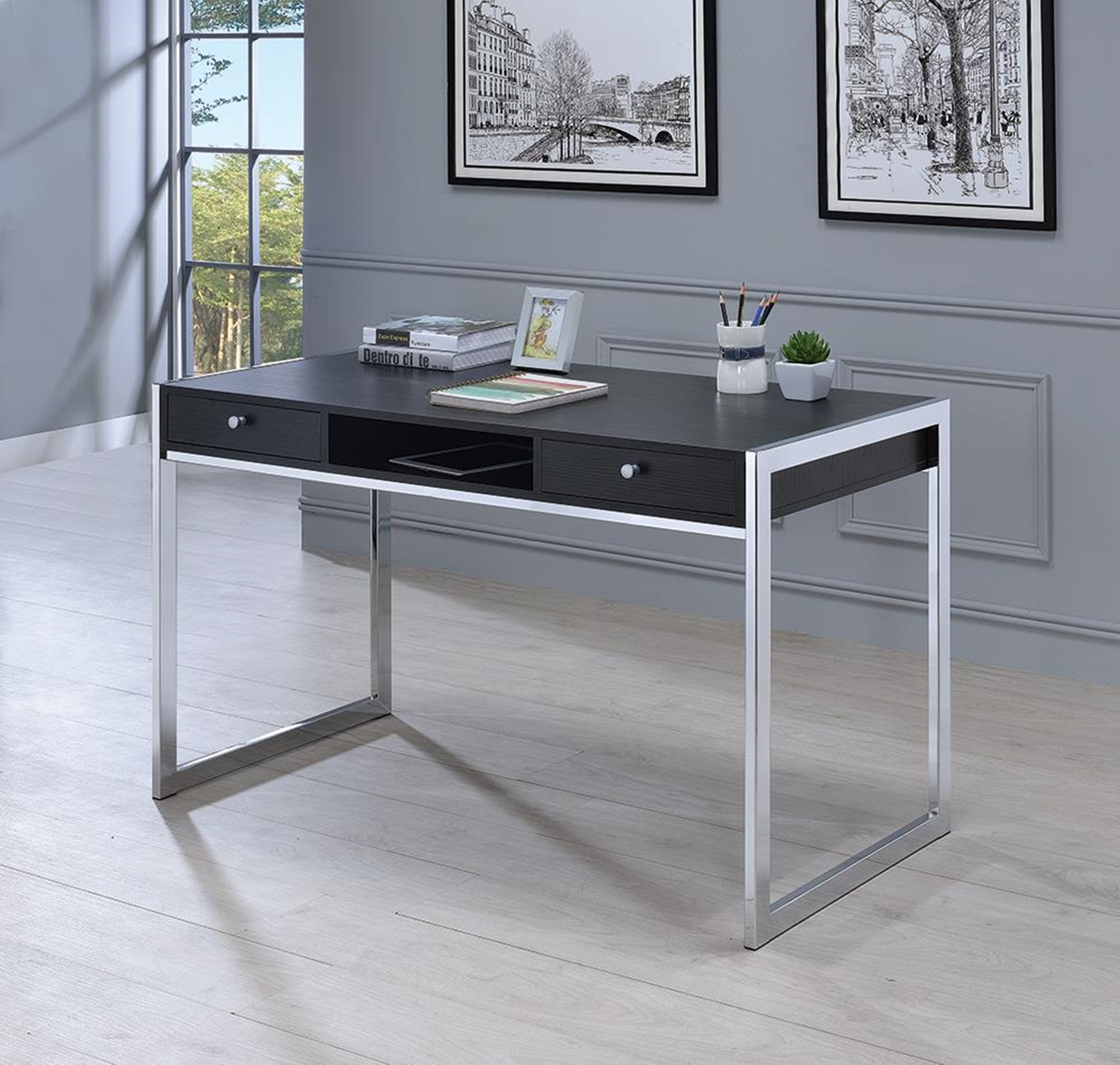 Contemporary Dark Grey Writing Desk