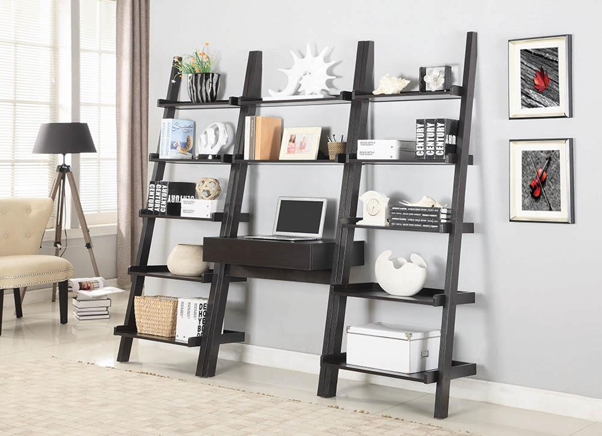 Transitional Capp. Wall-Leaning Ladder Desk