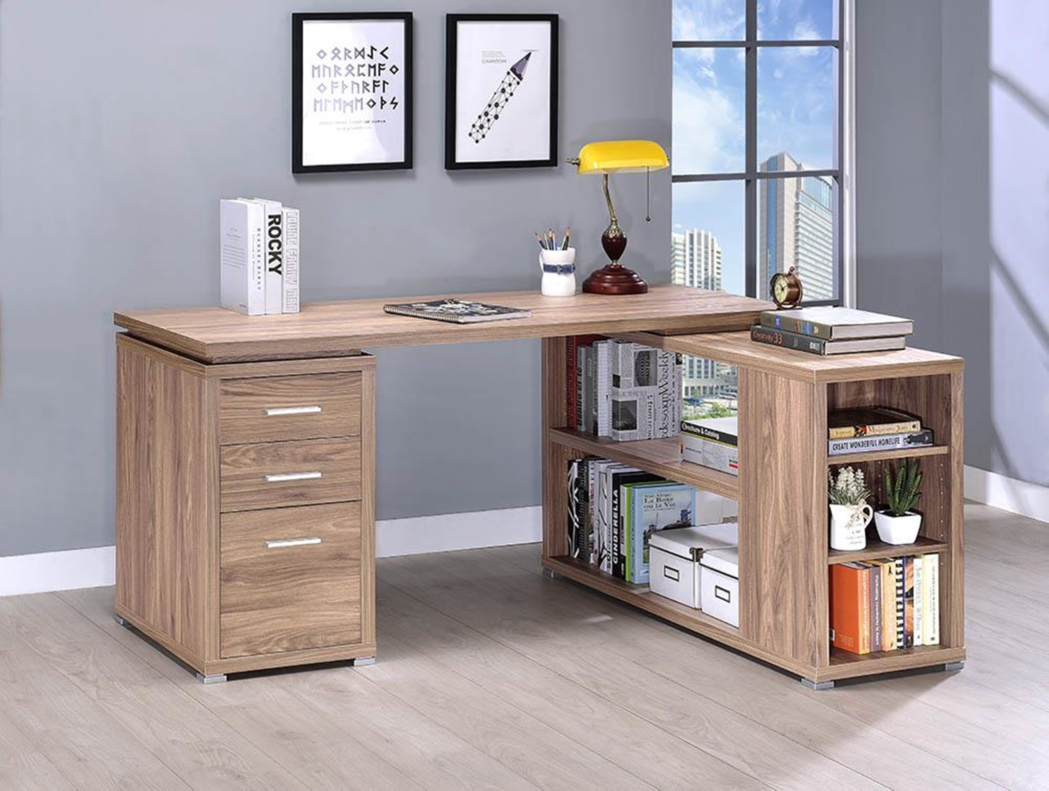 Yvette Elm L-Shaped Office Desk