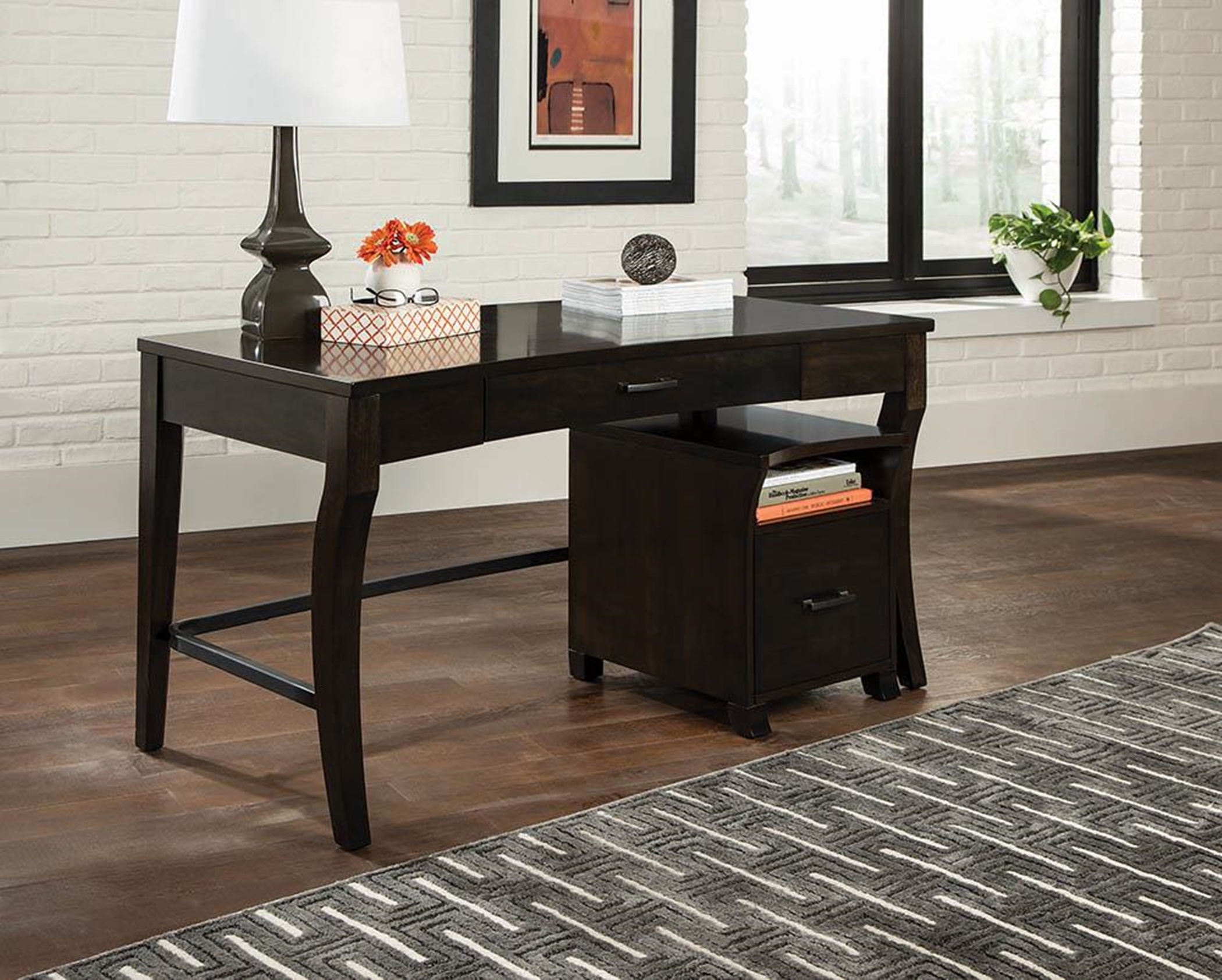 Transitional Smokey Black Writing Desk