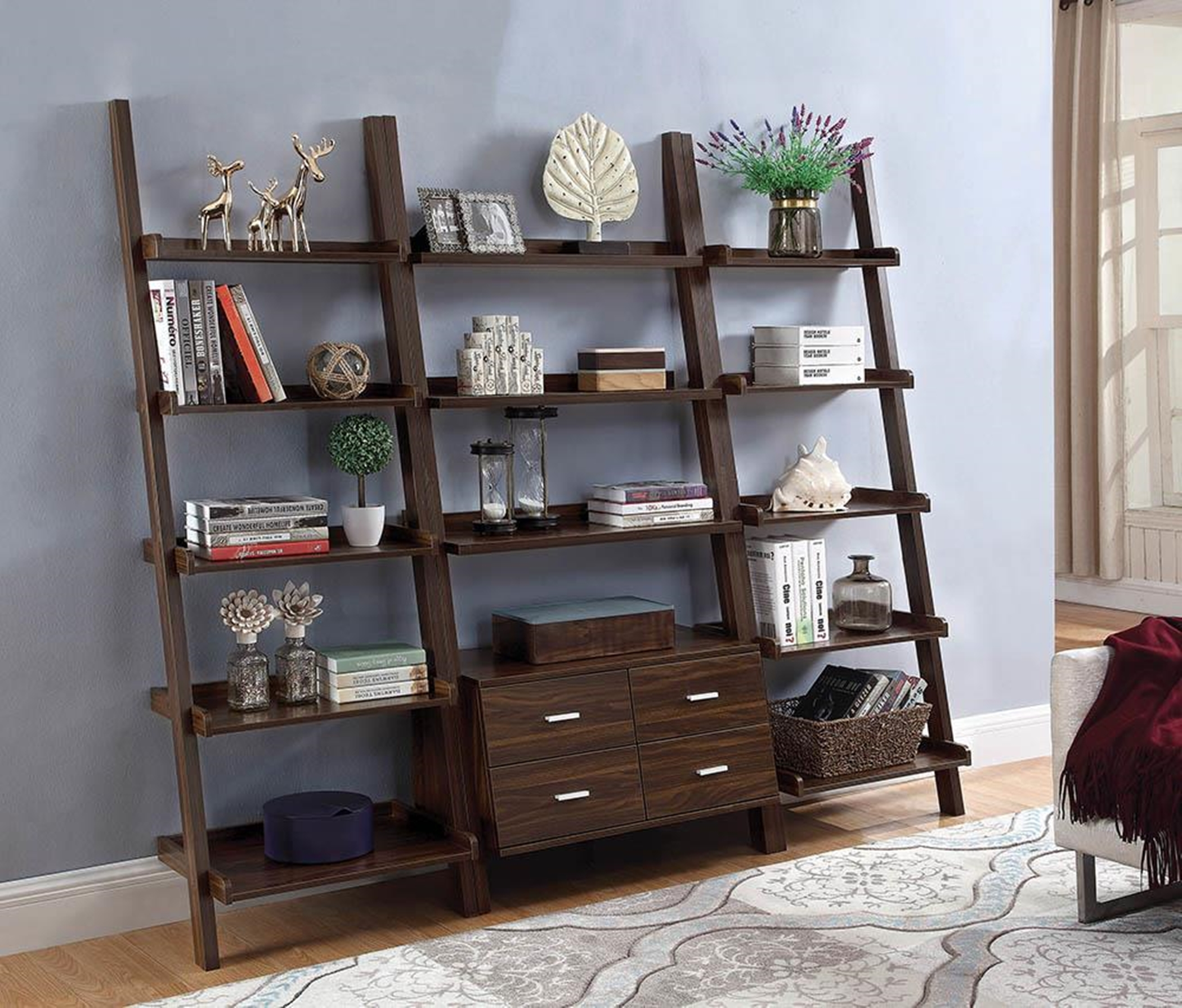 Dark Walnut Ladder Bookcase with Drawer Storage