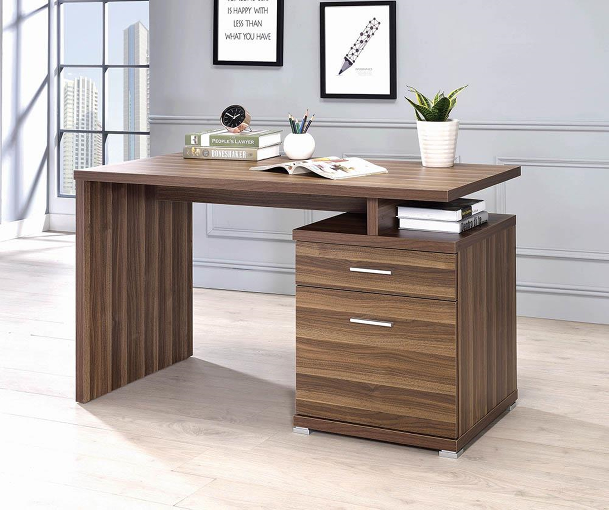 Contemporary Walnut Office Desk With Cabinet