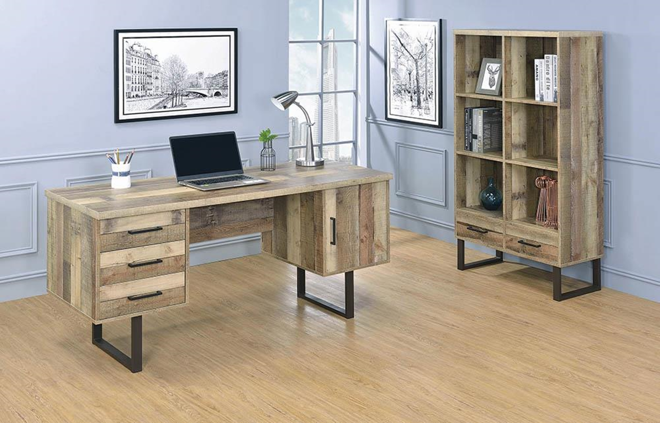 Nixon Weathered Pine Writing Desk
