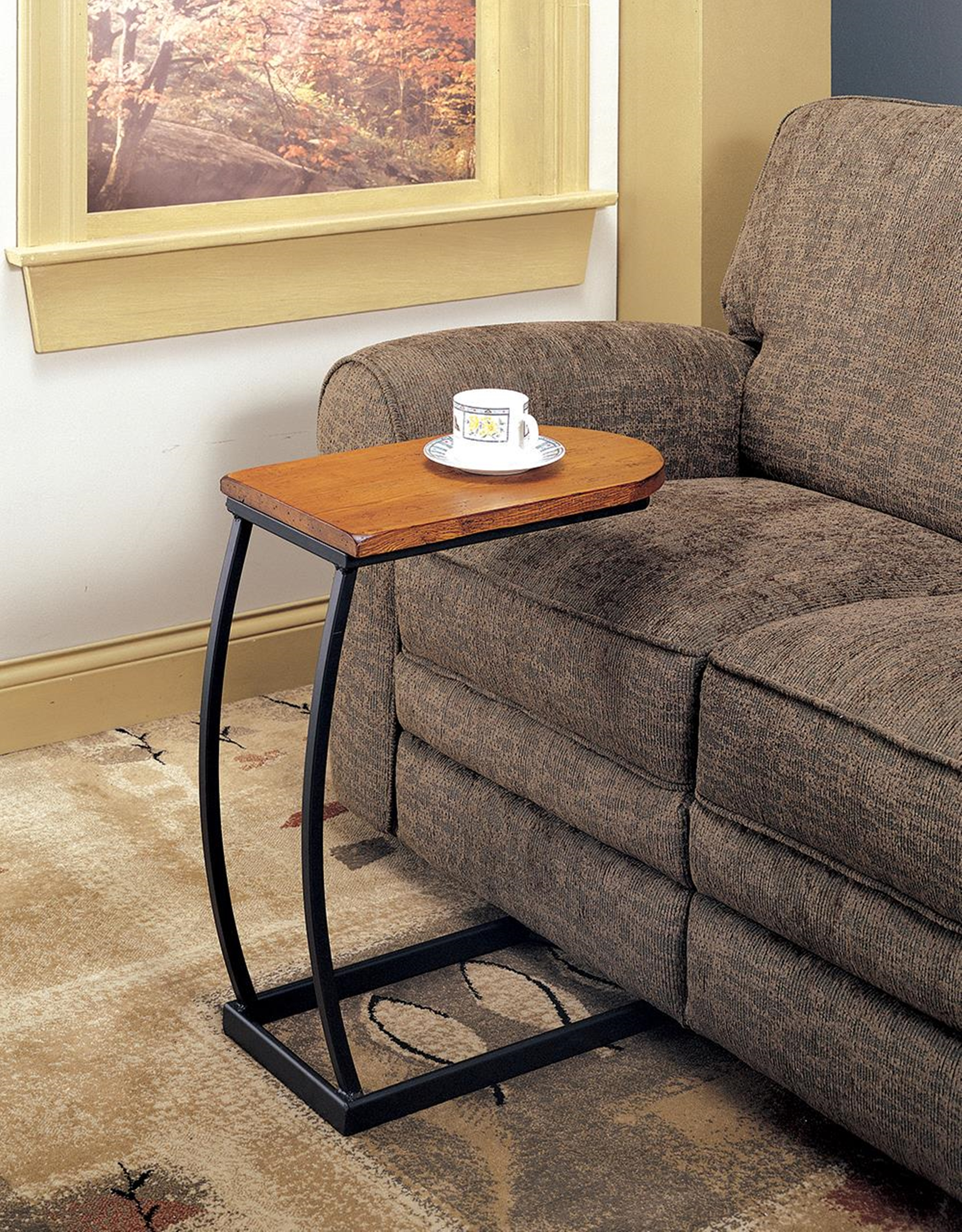 Transitional Brown and Black Accent Table