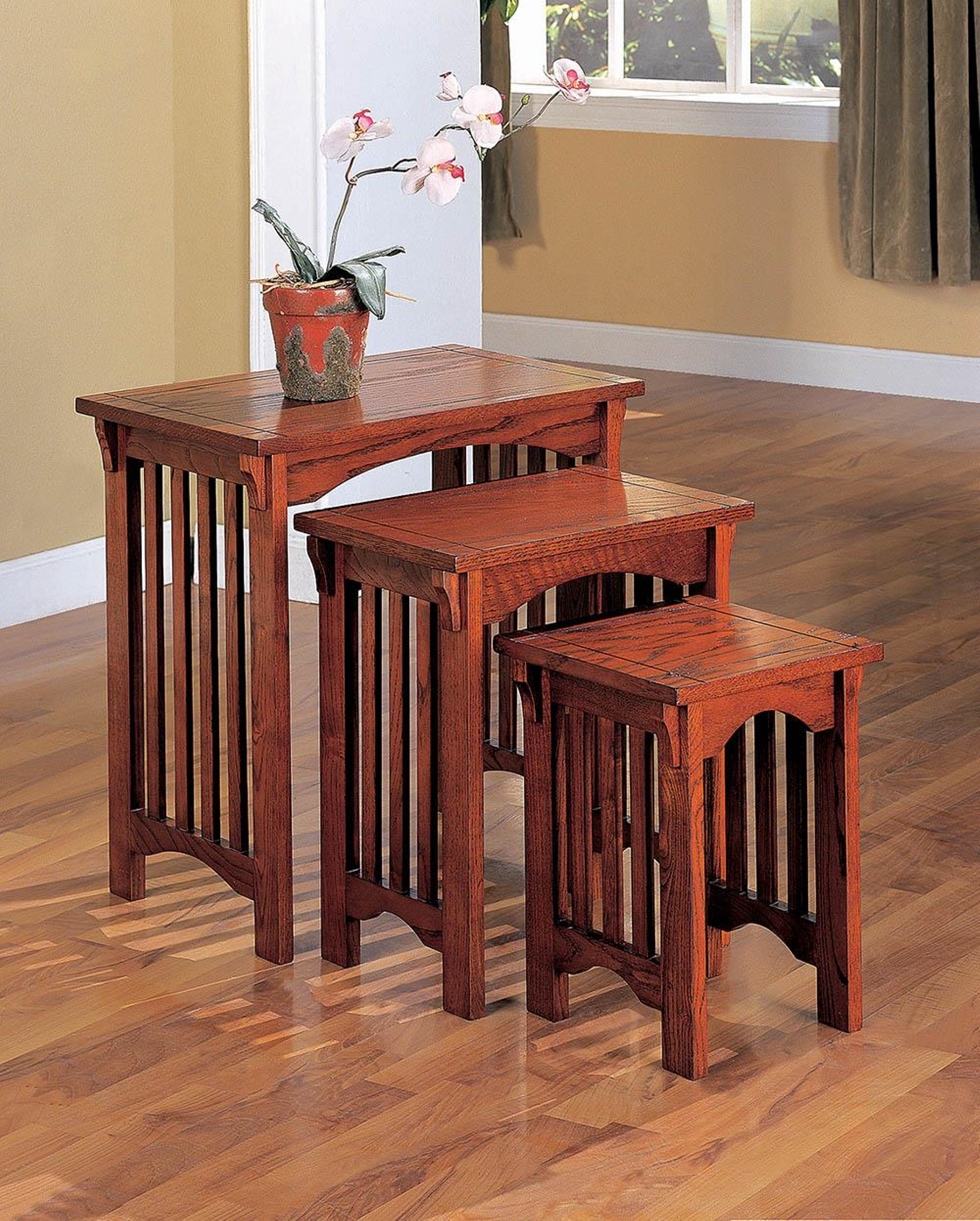 Warm Brown Three-Piece Nesting Table Set