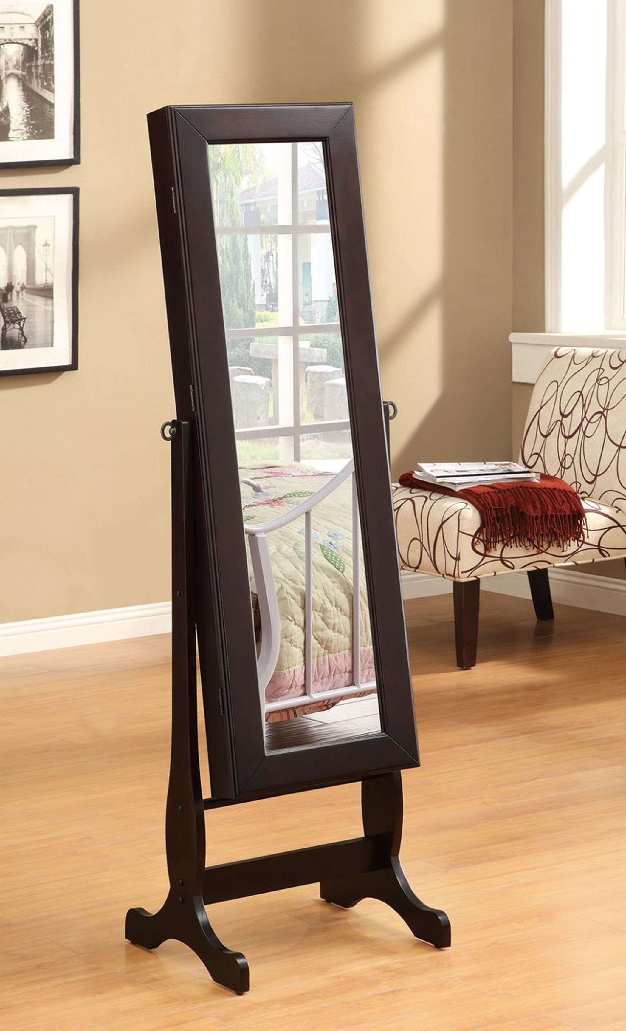 Capp. Cheval Mirror and Jewelry Armoire