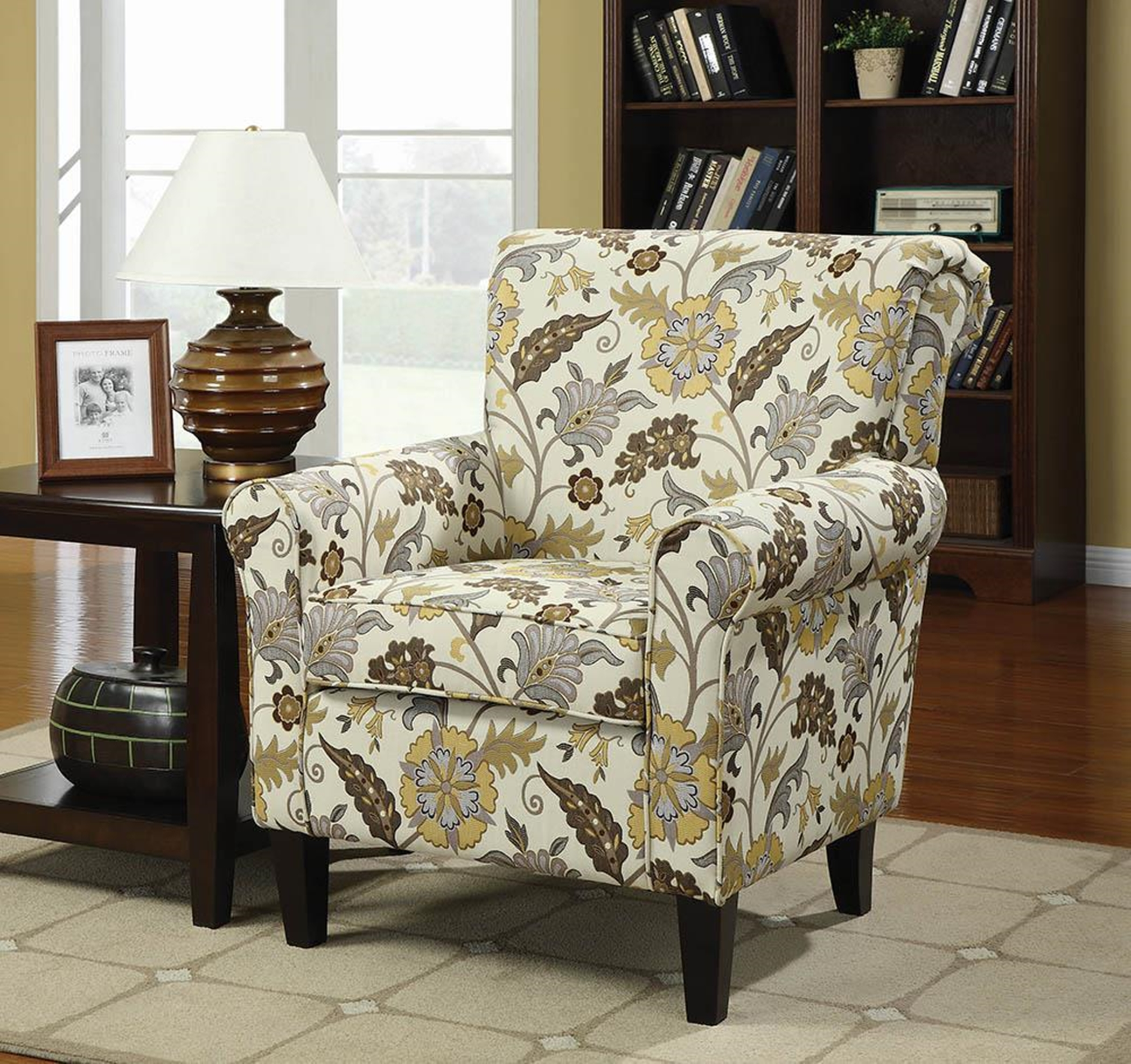Casual Cream and Floral Accent Chair