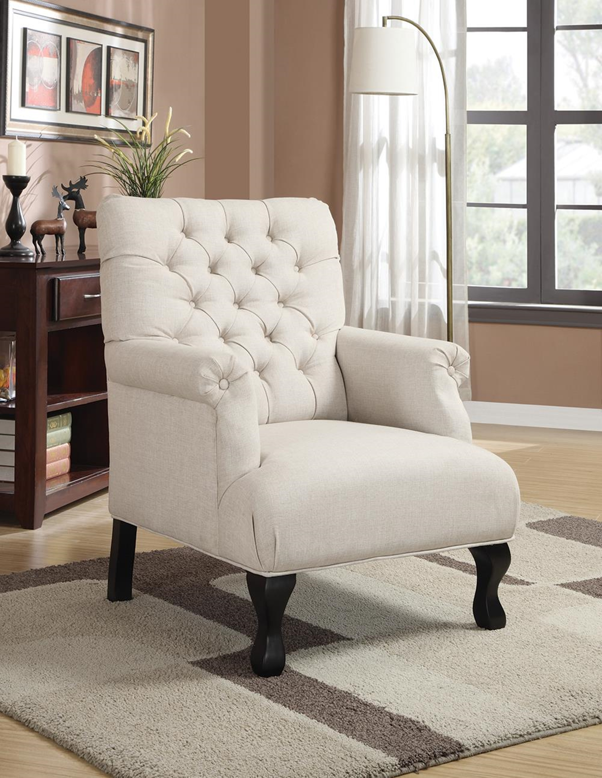 Casual Oatmeal Accent Chair