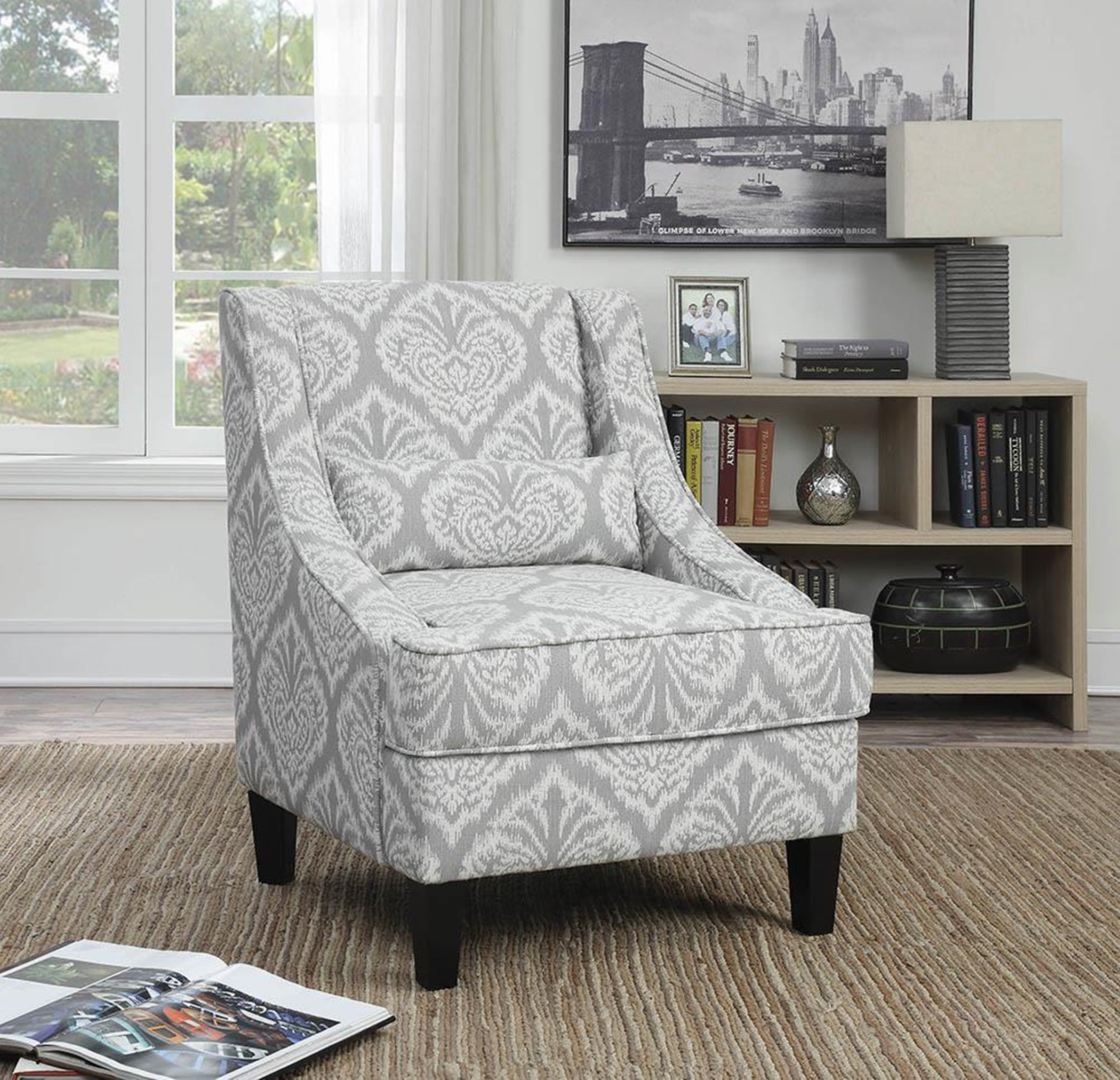 Light Grey and White Jacquard Accent Chair