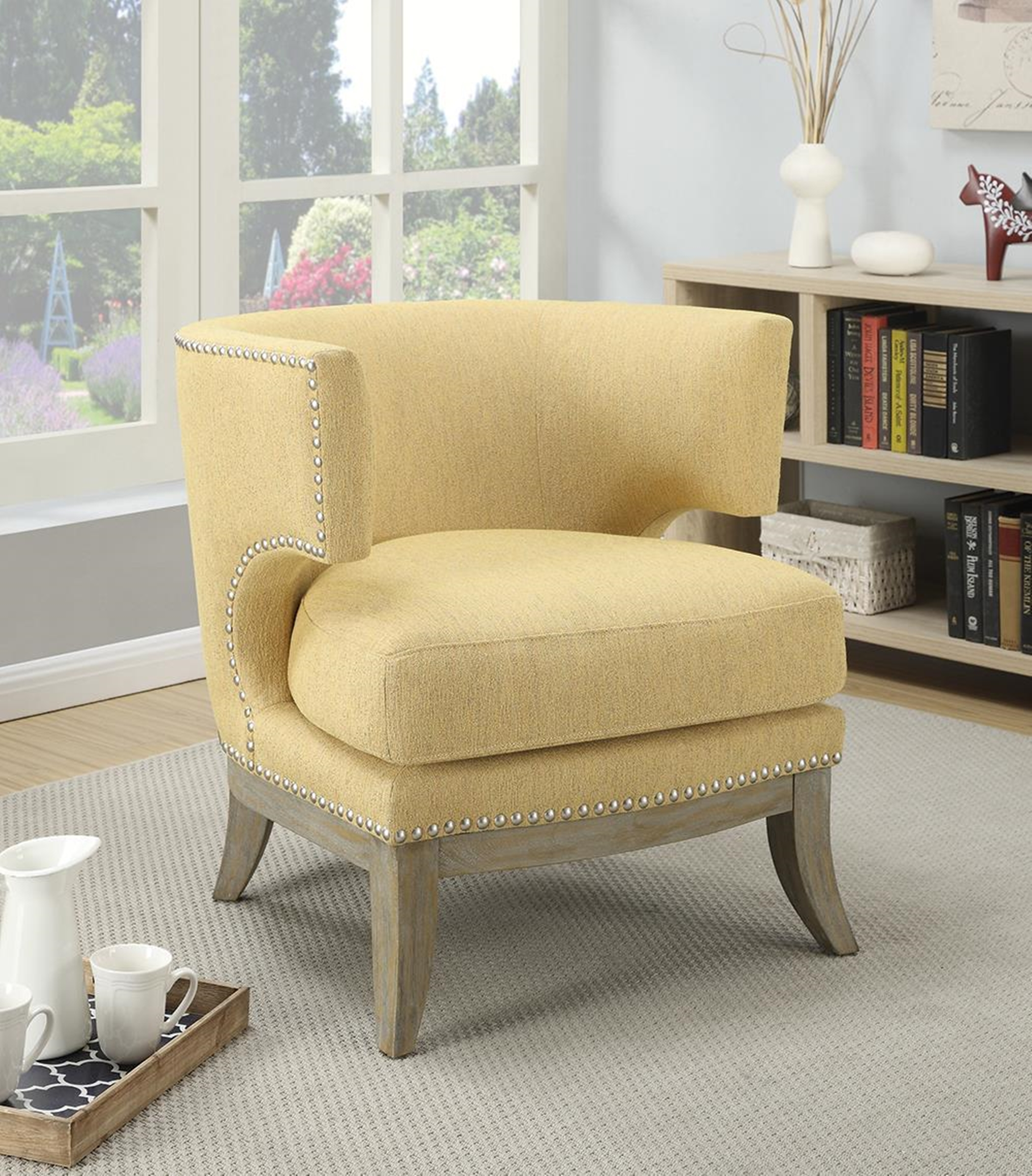 Bumblebee Yellow Exposed Wood Accent Chair