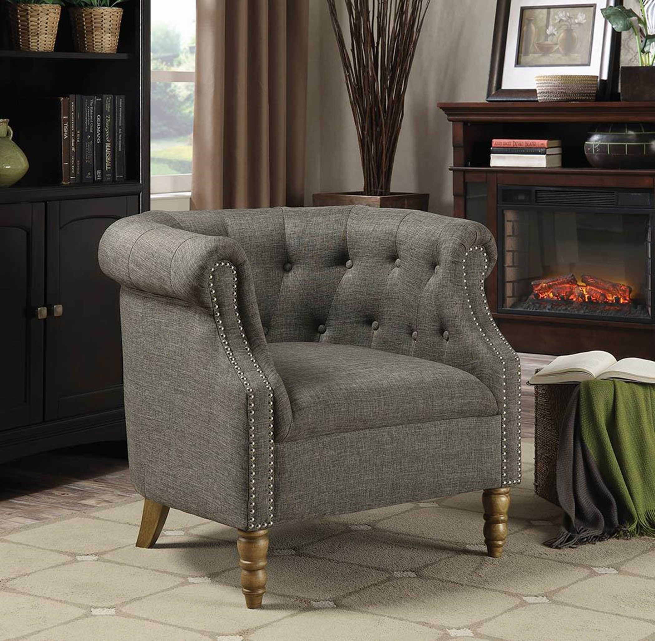 Barrel Button Tufted Accent Chair Gray