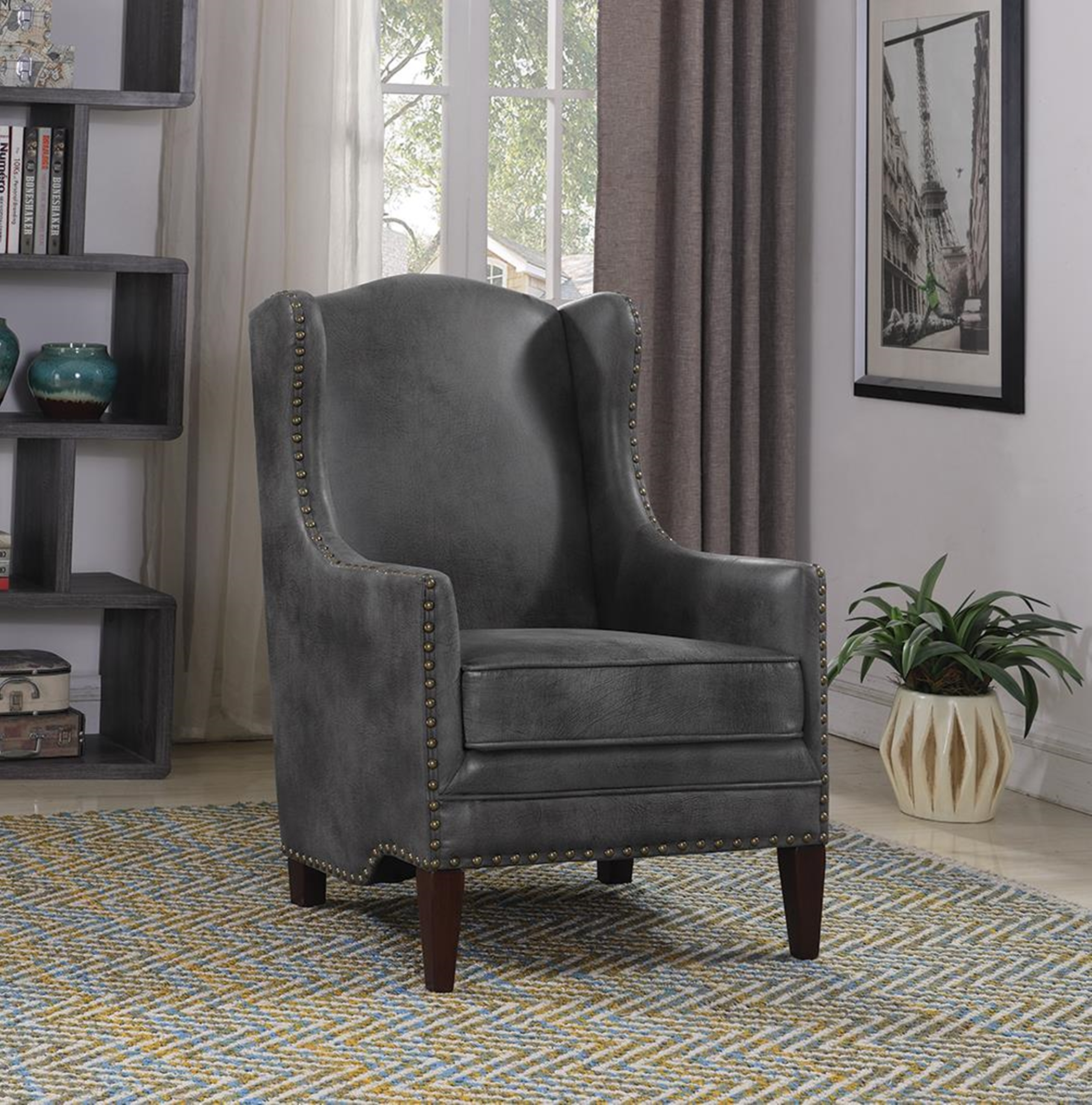 Traditional Grey and Capp. Accent Chair