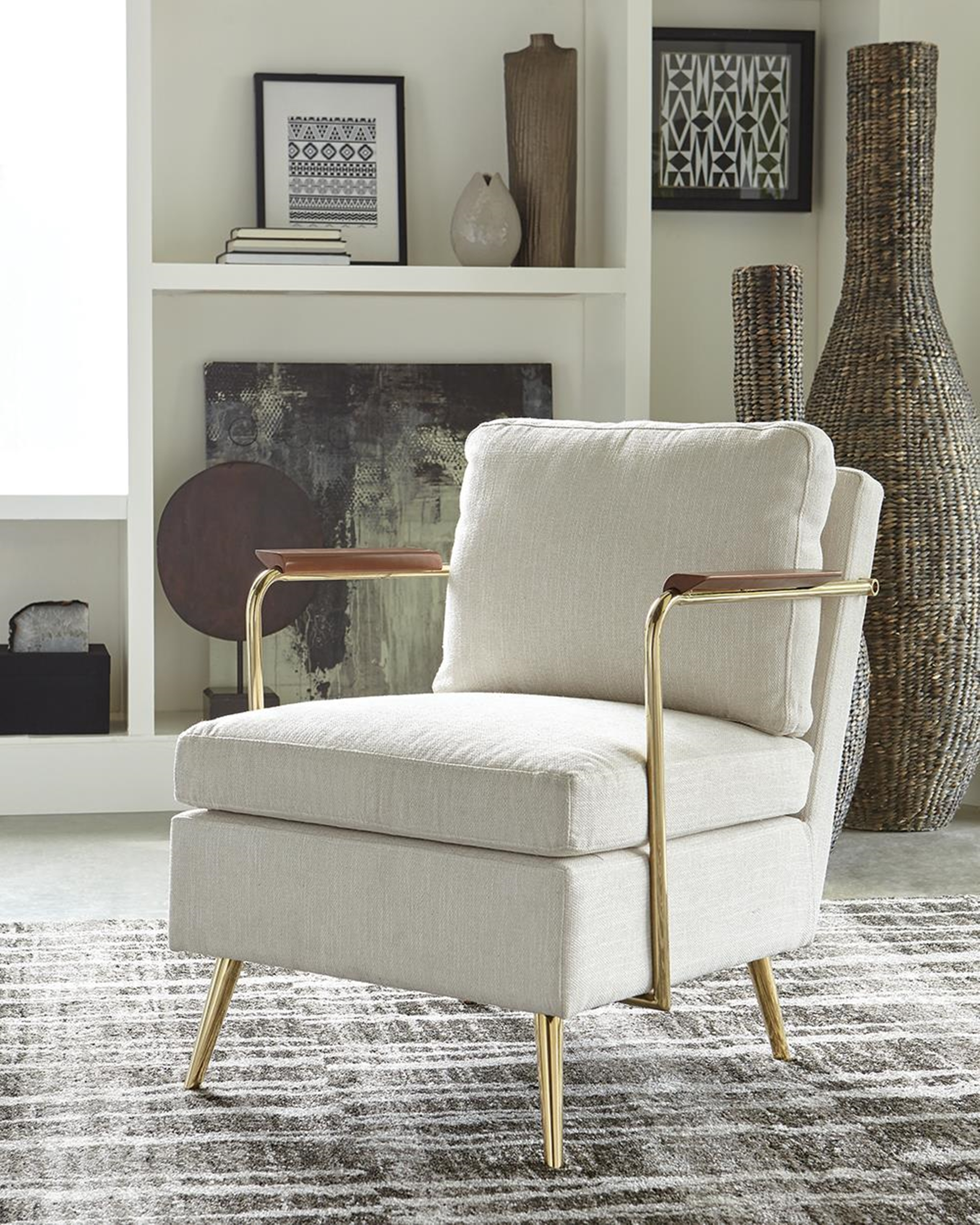 Modern Beige and Brass Accent Chair