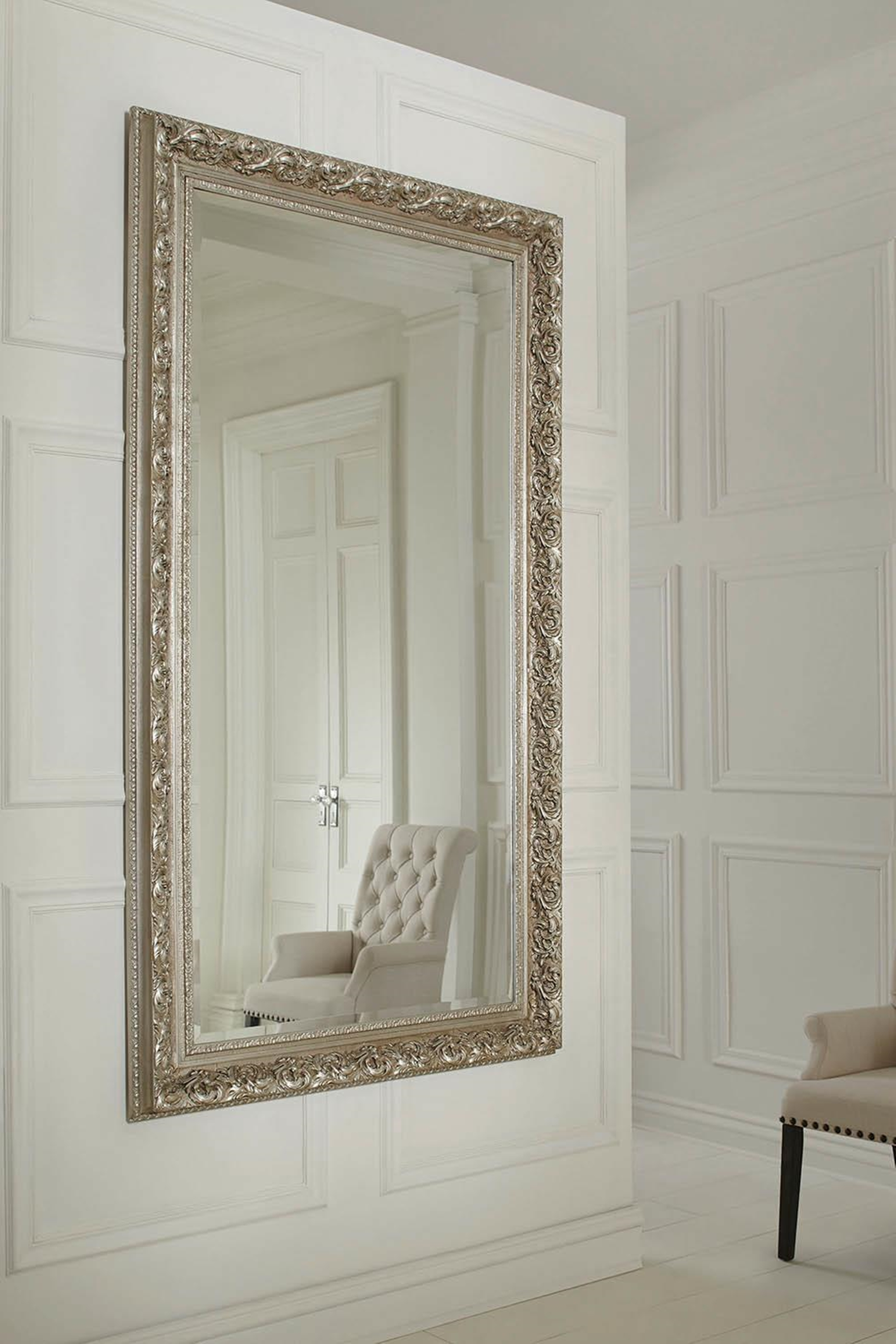 Ornate Antique Silver Wall Mirror