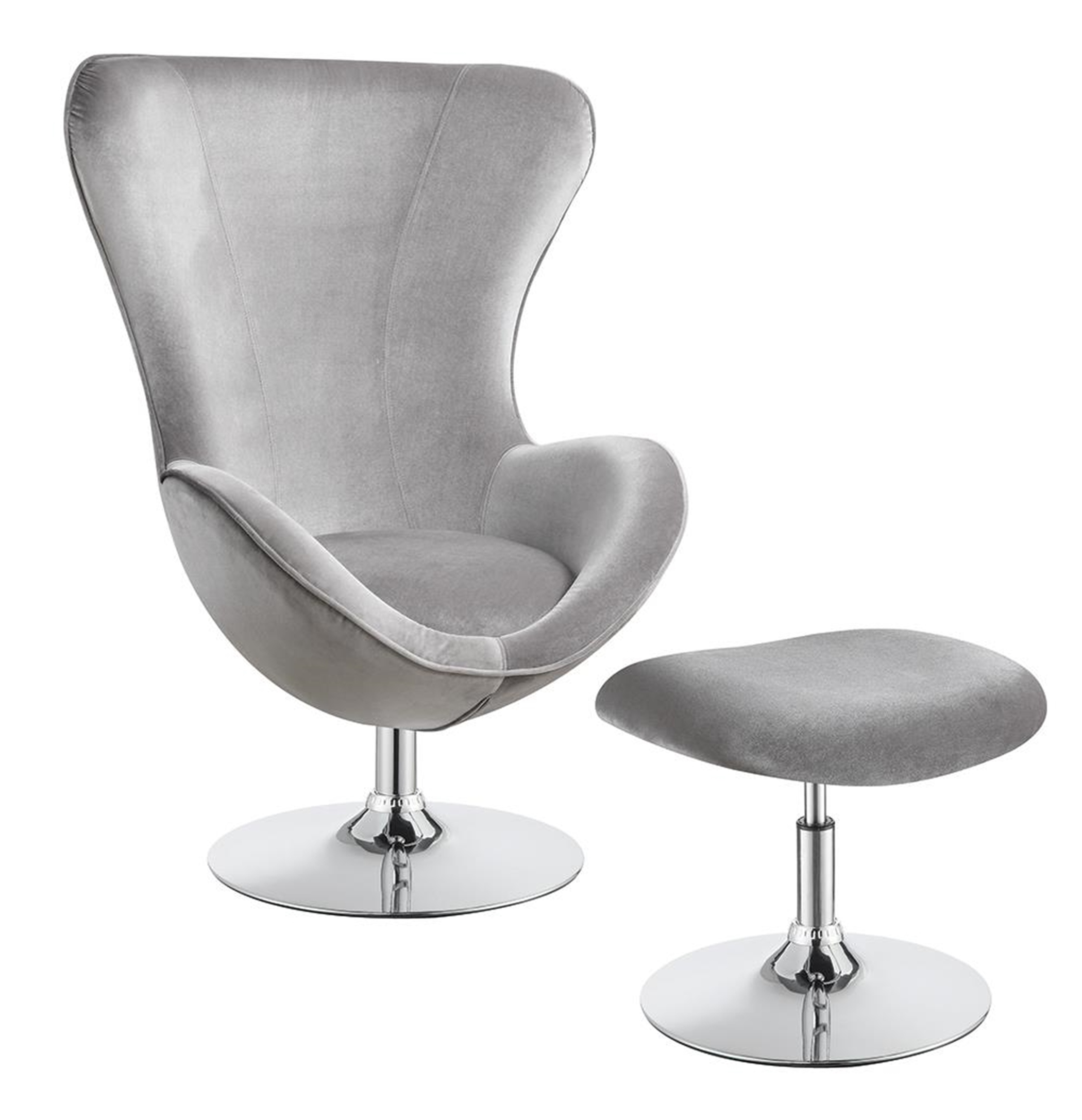 Grey and Chrome Chair and Ottoman