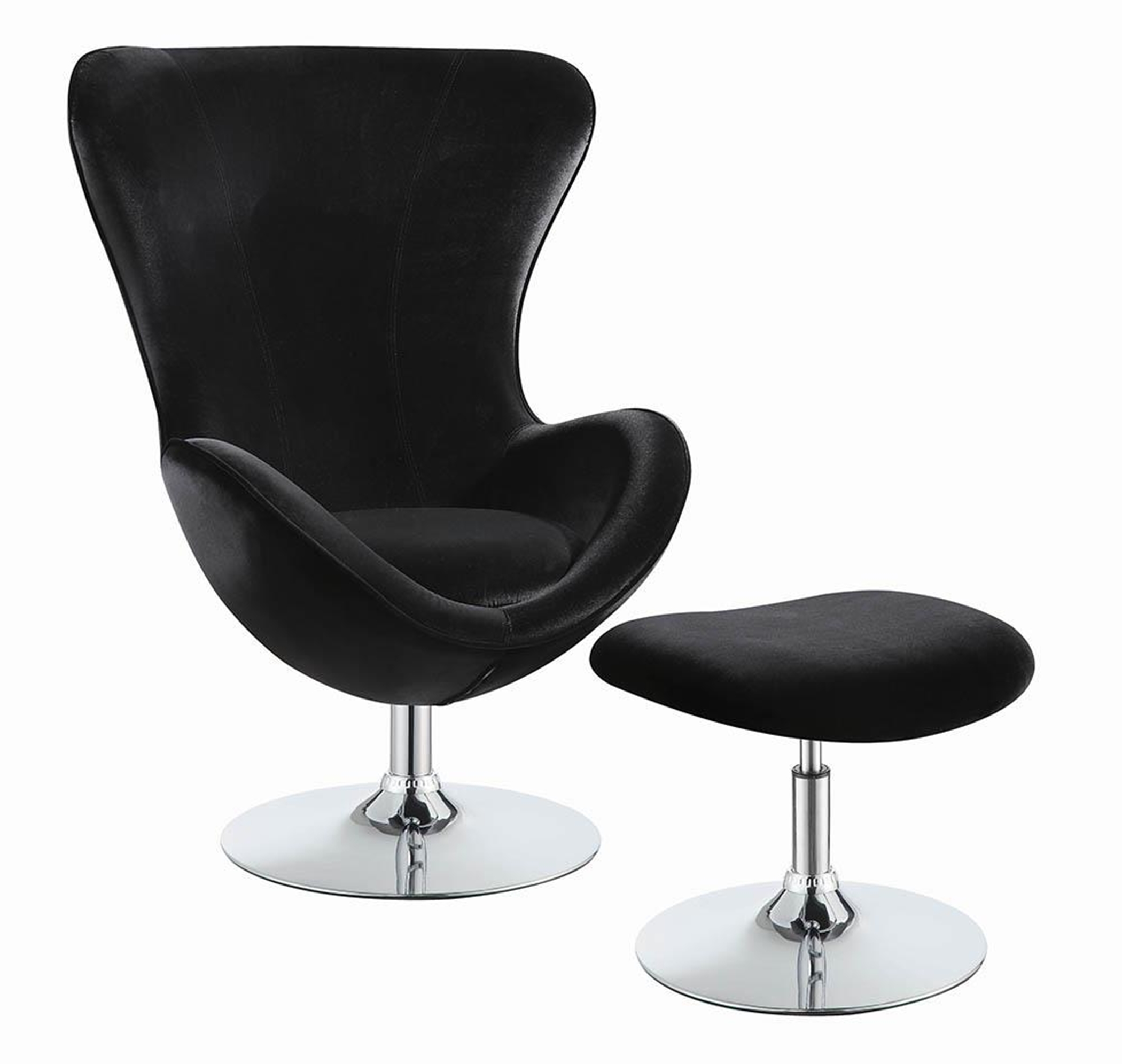 Black and Chrome Chair and Ottoman