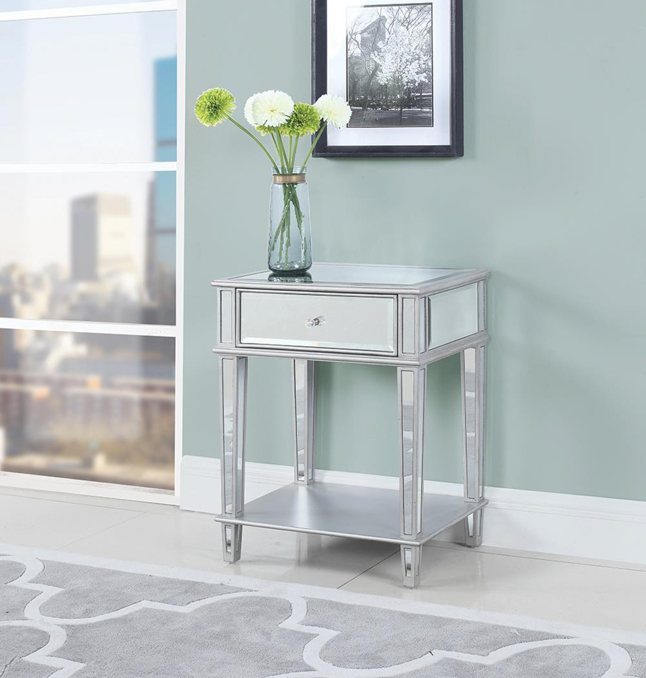 Contemporary Mirrored Accent Table